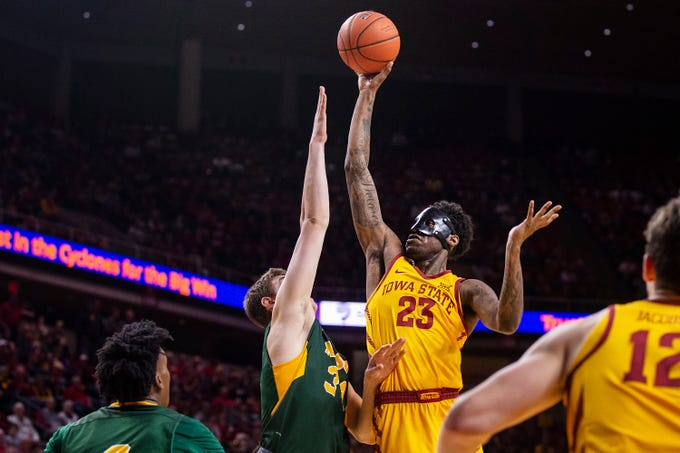 Iowa State's Zoran Talley Jr. shoots the ball during the Iowa State men's basketball game against North Dakota State University on Monday, Dec. 3, 2018, in Hilton Coliseum.