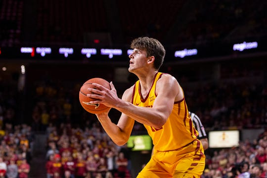 Iowa State's Michael Jacobson shoots the ball during the Iowa State men's basketball game against North Dakota State University on Monday, Dec. 3, 2018, in Hilton Coliseum.