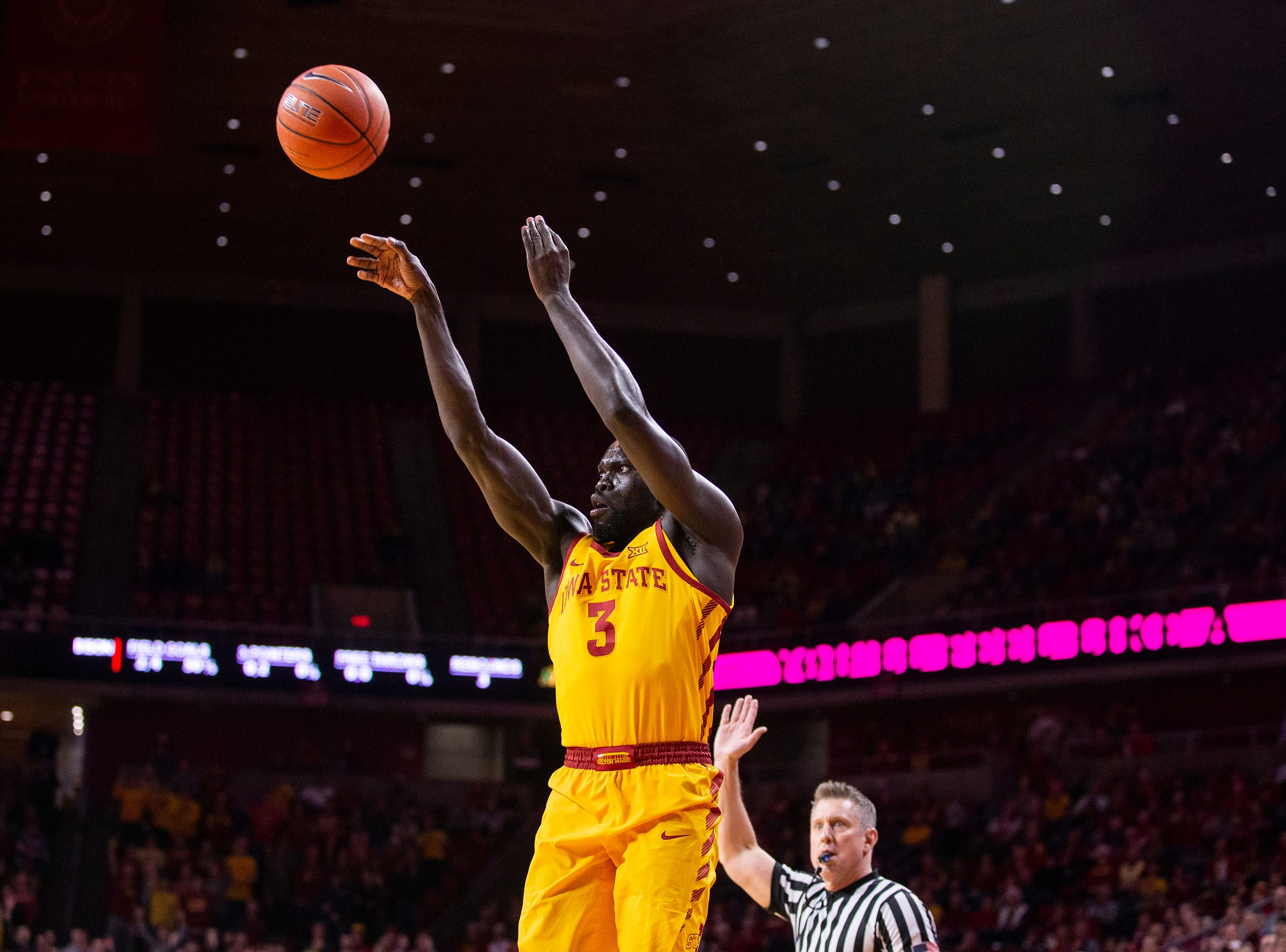 Iowa State's Marial Shayok shoots the ball during the Iowa State men's basketball game against North Dakota State University on Monday, Dec. 3, 2018, in Hilton Coliseum.