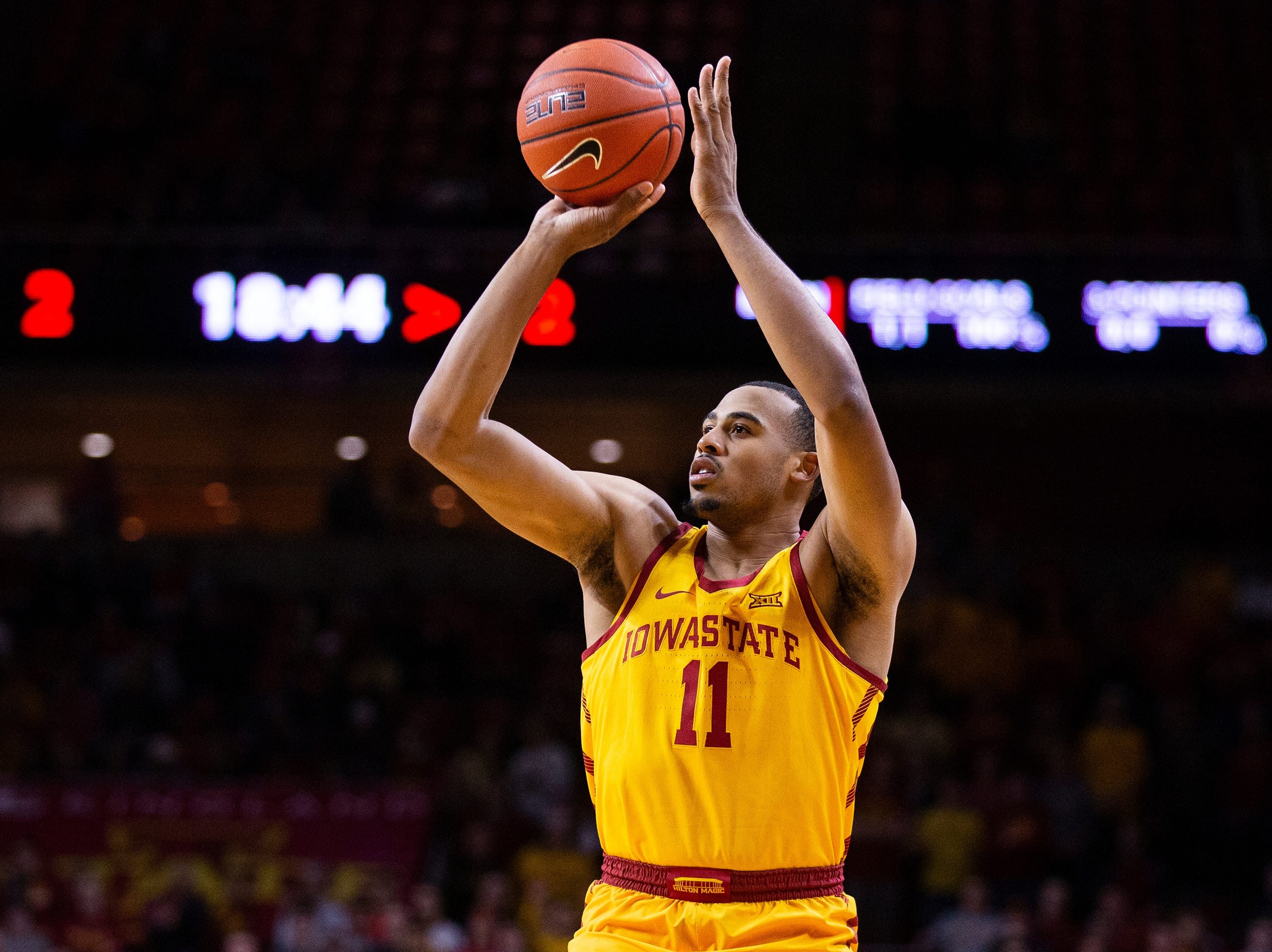 Iowa State's Talen Horton-Tucker shoots the ball during the Iowa State men's basketball game against North Dakota State University on Monday, Dec. 3, 2018, in Hilton Coliseum.