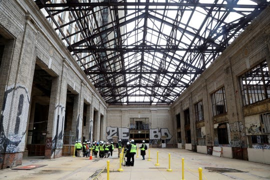 Inside of Michigan Central Station in Detroit shown during a tour for the media on Tuesday, December 4, 2018.