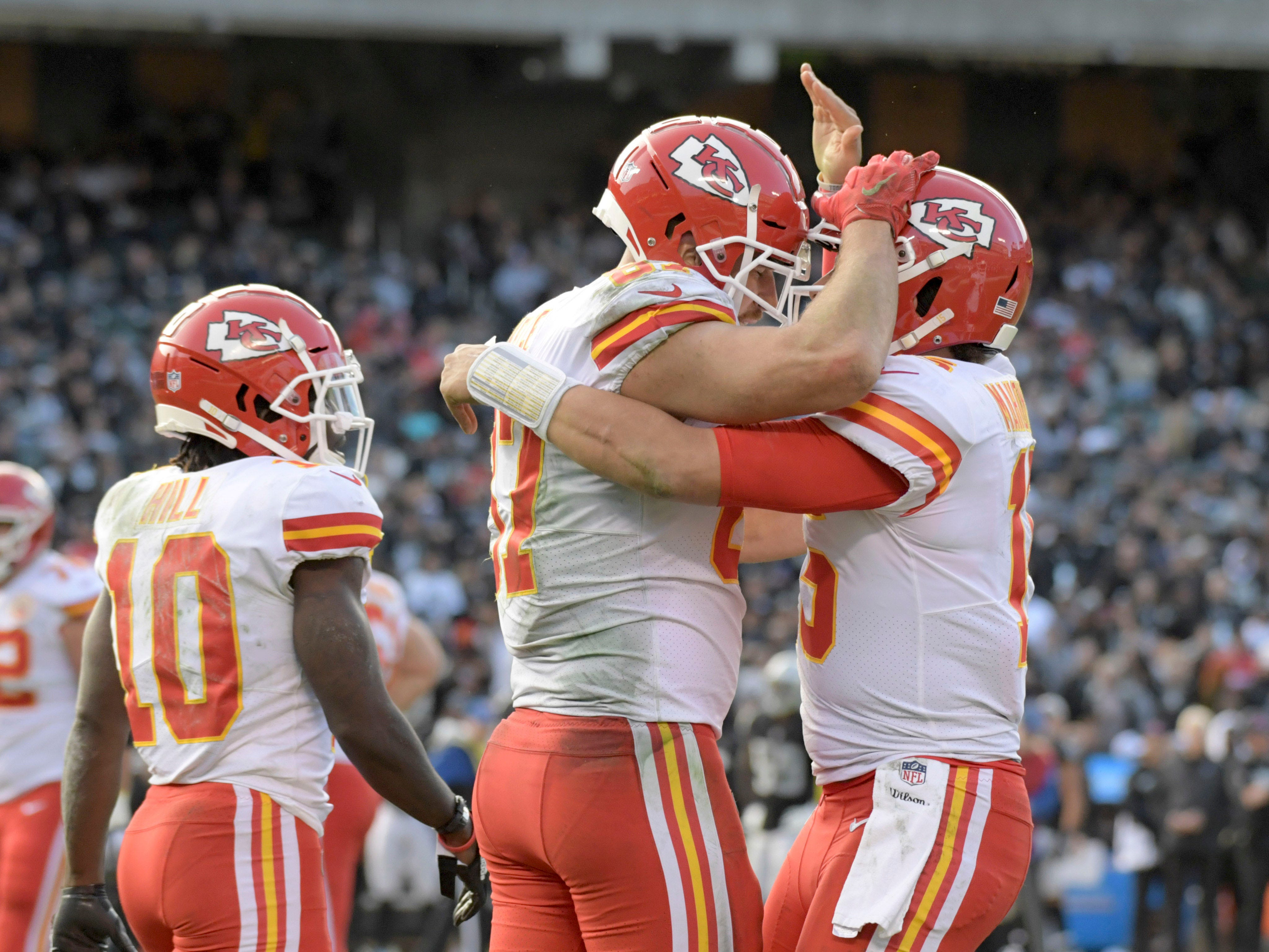 2. Chiefs (10-2) | Last game: Defeated the Raiders, 40-33 | Previous ranking: 3 | The buzz: Bold move by Chiefs to waive Kareem Hunt, but the right thing to do given the circumstances.