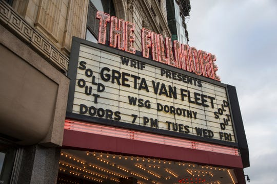 The Fillmore Detroit marquee, pictured on May 22, 2018.