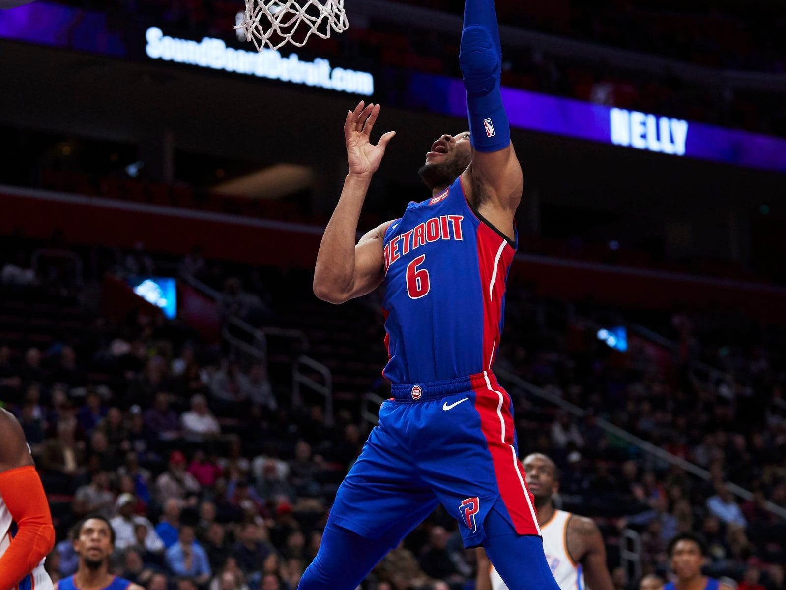 Detroit Pistons guard Bruce Brown (6) shoots in the second half against the Oklahoma City Thunder at Little Caesars Arena.