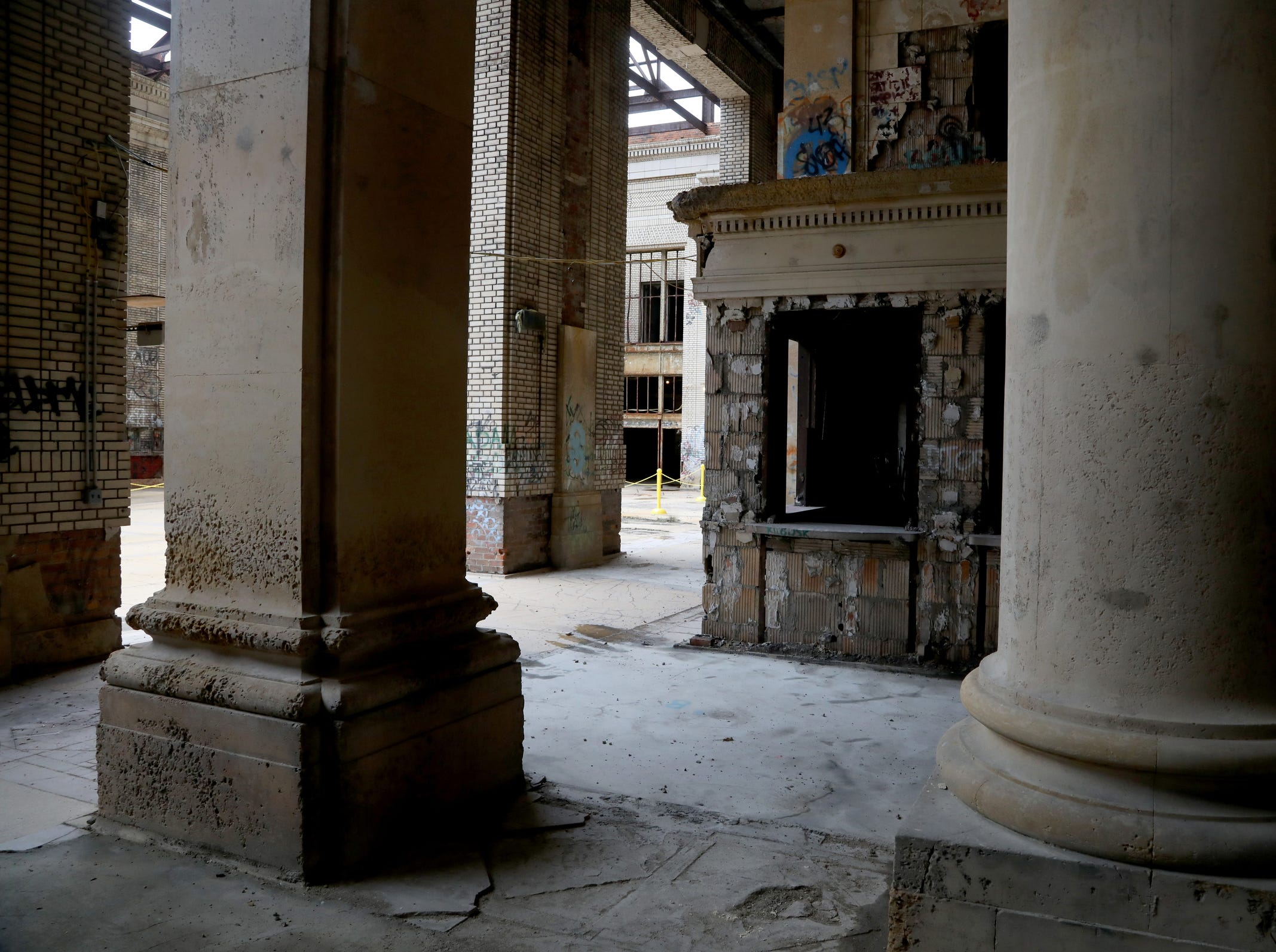 Large columns inside Michigan Central Station in Detroit seen during a tour for the media on Tuesday, December 4, 2018.