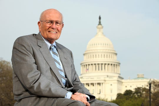 Rep. John Dingell, D-Mich., photographed near the Washington's Capitol in April 2011.