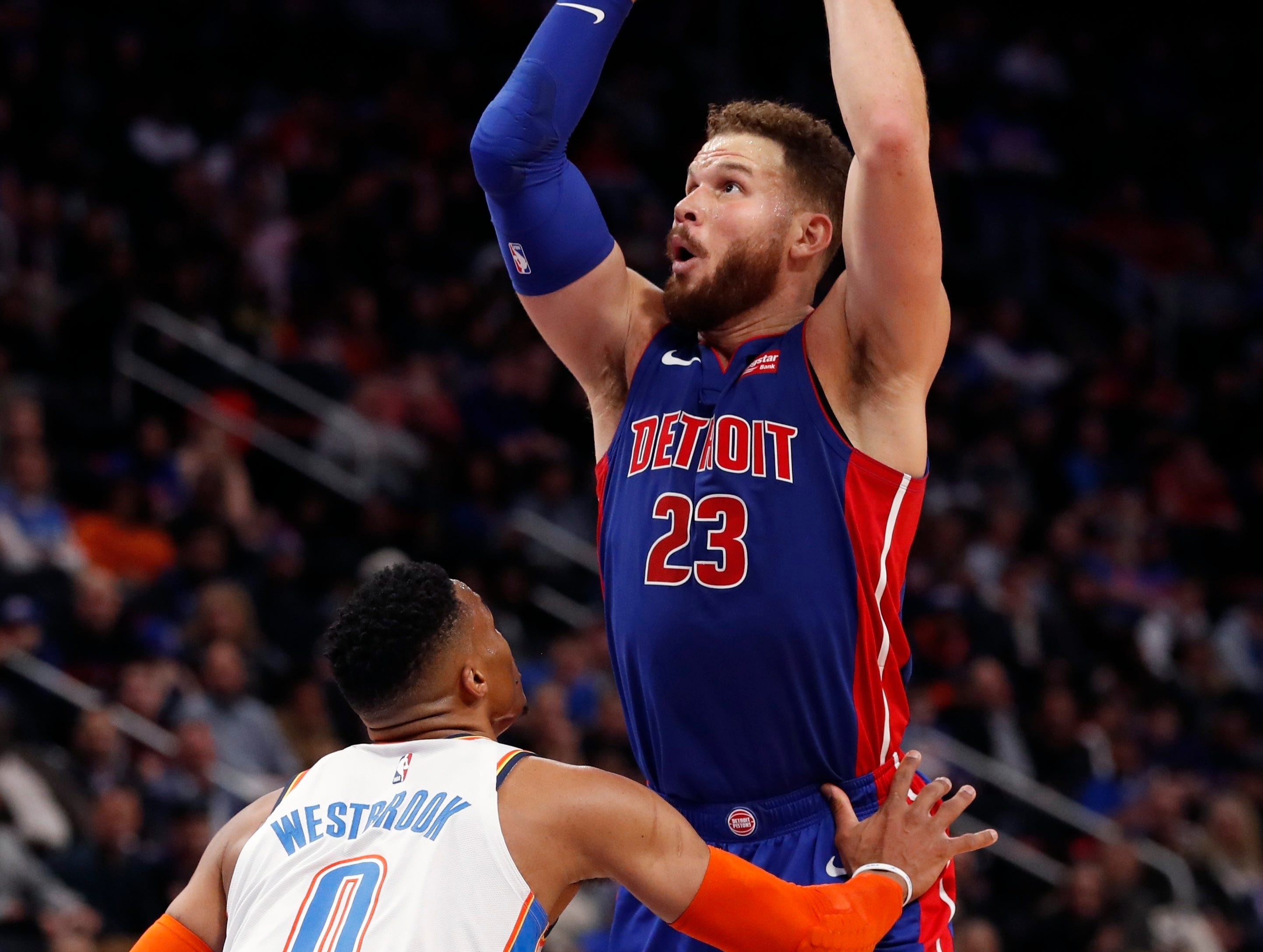 Detroit Pistons forward Blake Griffin (23) shoots as Oklahoma City Thunder guard Russell Westbrook (0) defends during the first half of an NBA basketball game, Monday, Dec. 3, 2018, in Detroit.