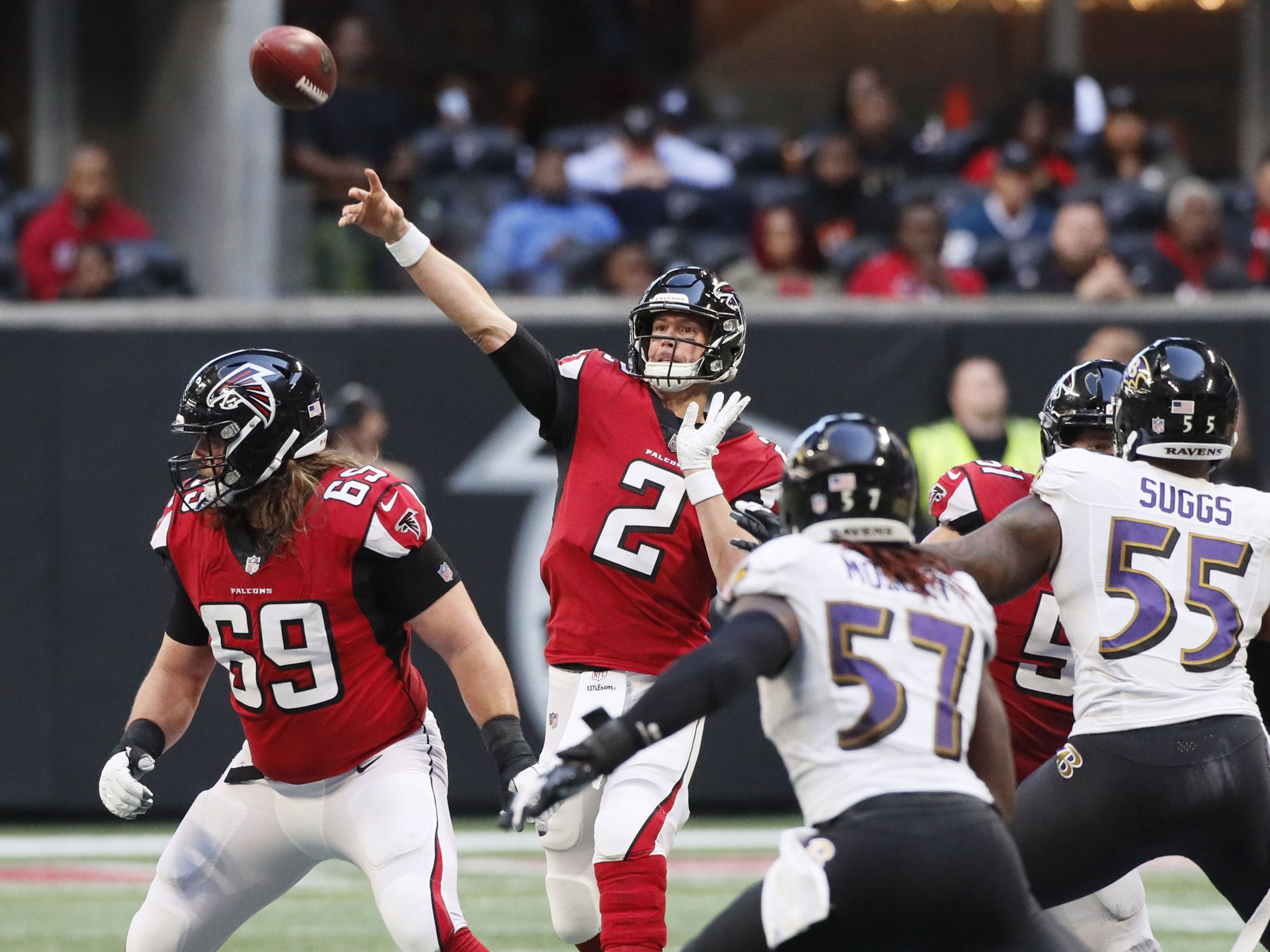 22. Falcons (4-8) | Last game: Lost to the Ravens, 26-16 | Previous ranking: 21 | The buzz: Matt Ryan has an outside chance at throwing for 5,000 yards this year.