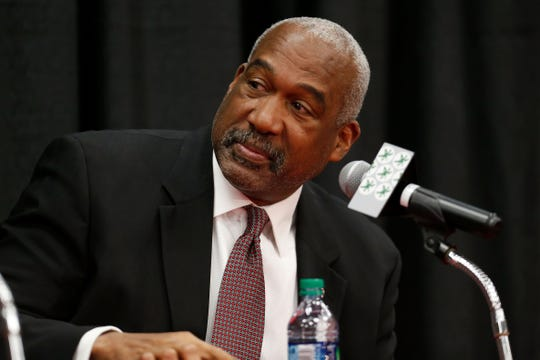 Ohio State athletic director Gene Smith listens during a news conference on Tuesday, Dec. 4, 2018, in Columbus, Ohio.
