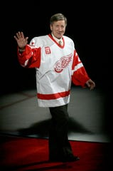 Former Red Wing Ted Lindsay is introduced at Steve Yzerman's jersey retirement ceremony at Joe Louis Arena in Detroit in January 2007.