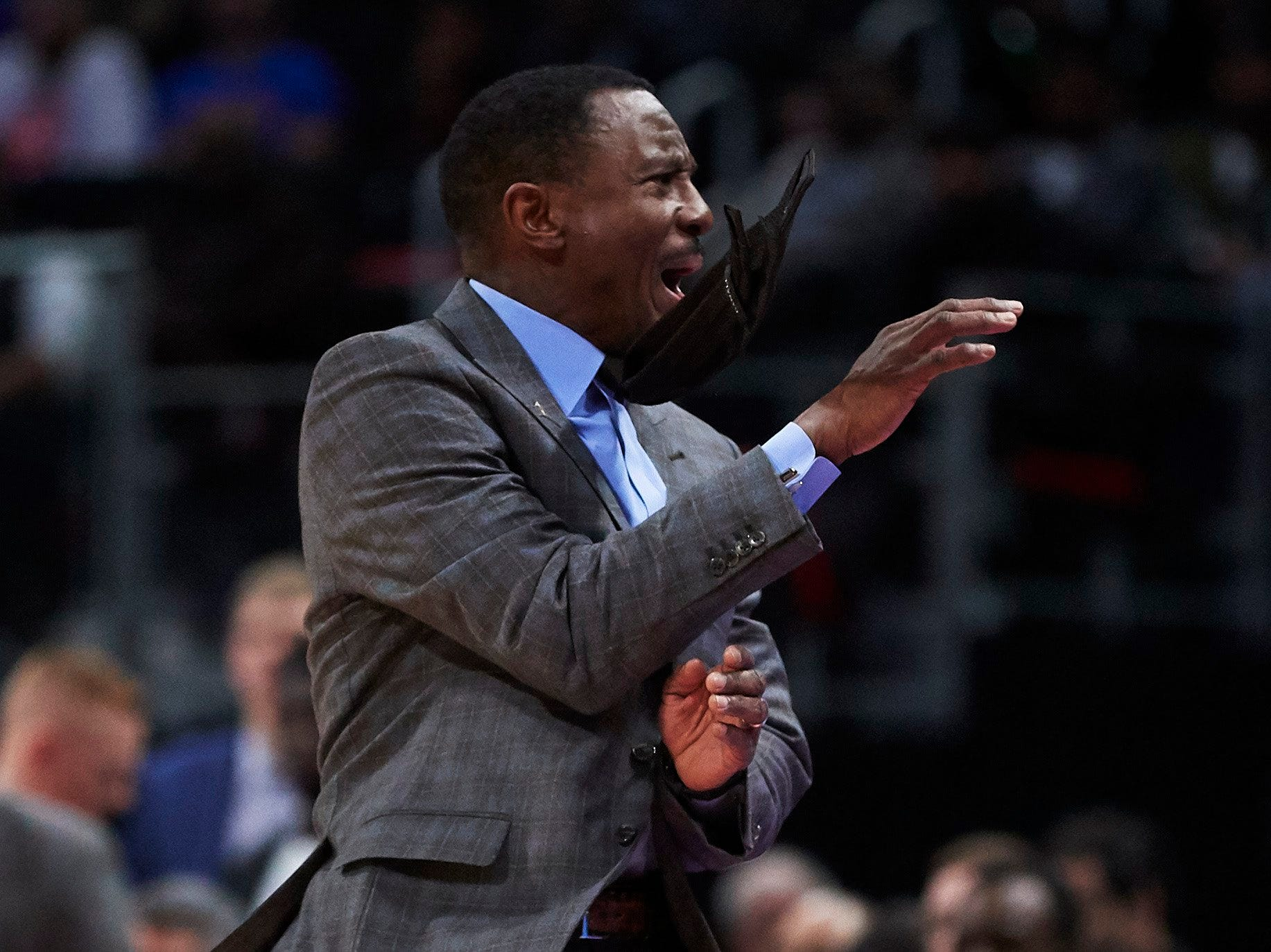 Detroit Pistons head coach Dwane Casey reacts during the first half against the Oklahoma City Thunder at Little Caesars Arena.