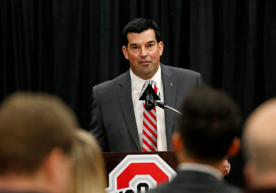 New Ohio State head coach Ryan Day during a news conference at the Ohio State University Fawcett Center, Dec. 4, 2018.