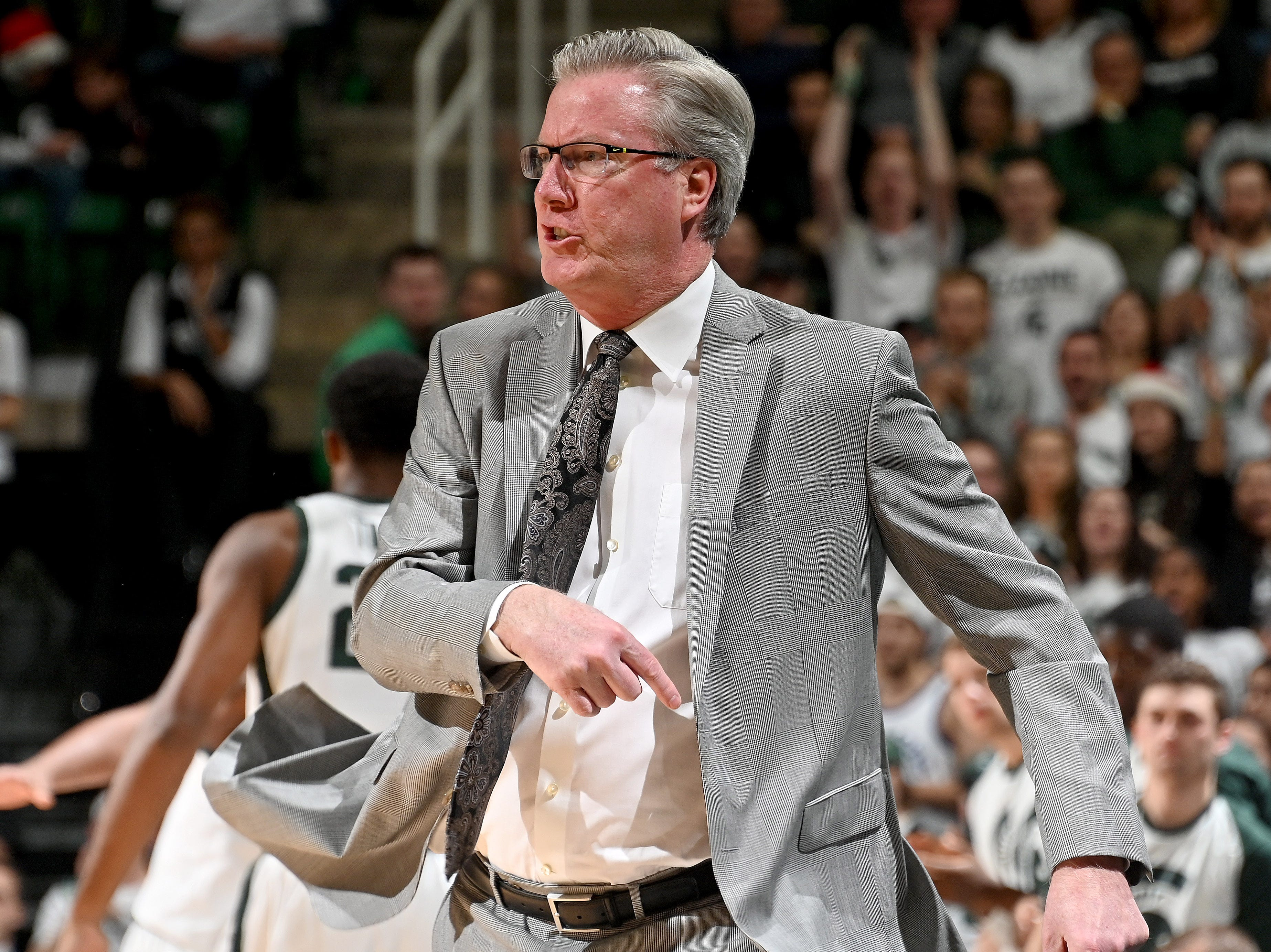 Iowa head coach Fran McCaffery goes a bit ballistic after a no-call on the other end of the floor in the first half gave the Spartans more momentum.