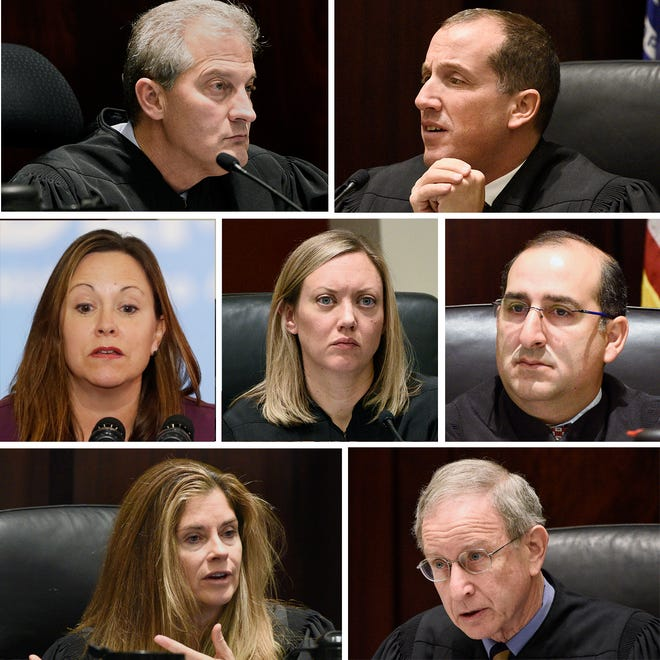 Michigan's Supreme Court on Jan. 1, 2019:  L-R by row from top, justices  Brian Zahra,  Richard Bernstein, Megan Cavanagh, Elizabeth Clement, David Viviano, Bridget Mary McCormack and chief justice Stephen Markman.
