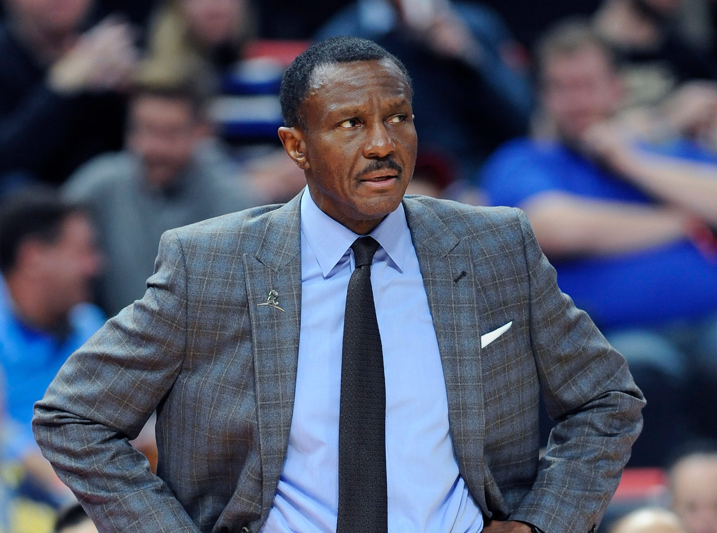 Pistons' head coach Dwane Casey watch the action in the third quarter.