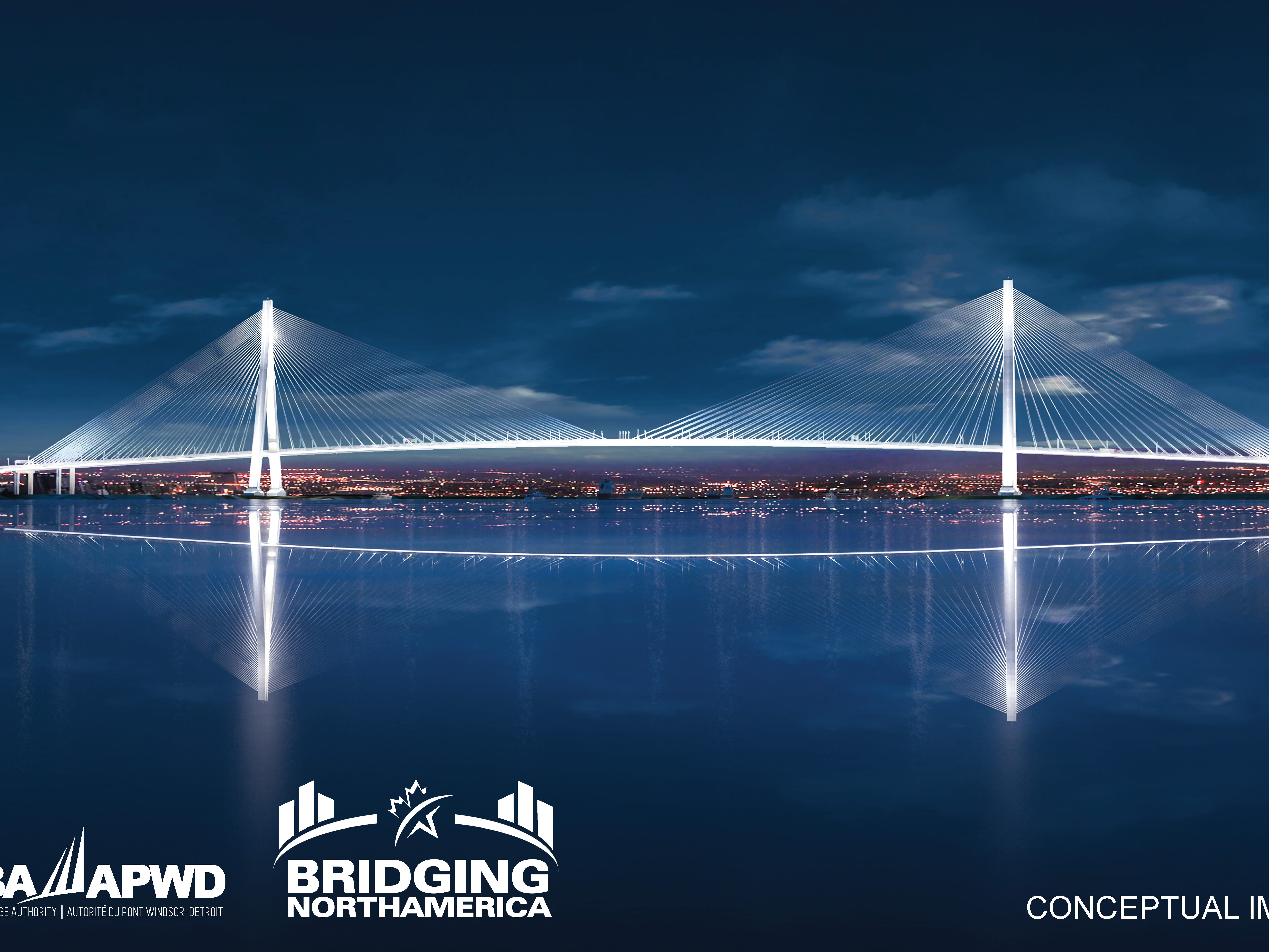 This rendering shows a night view of the Gordie Howe International Bridge.