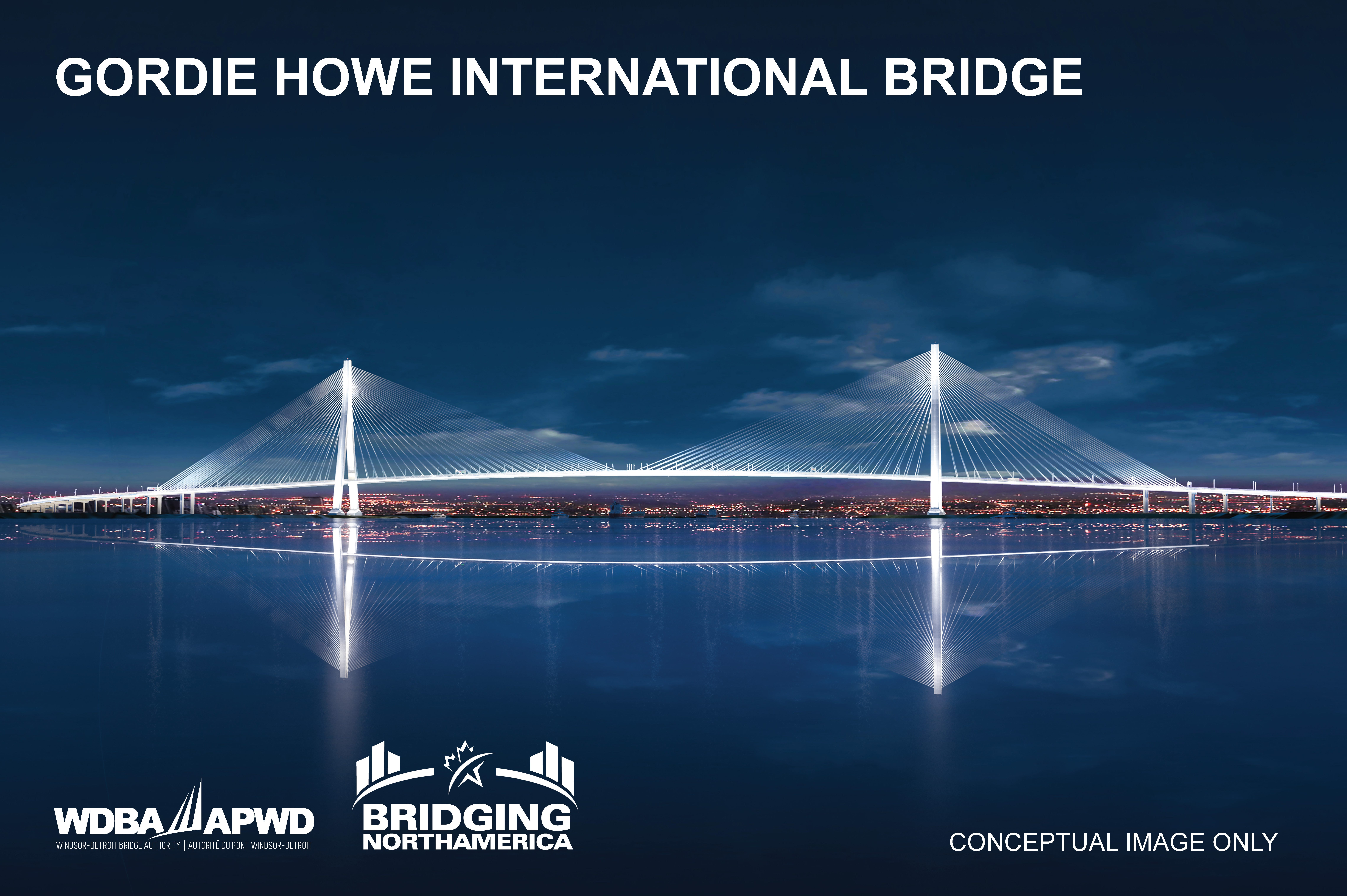 Gordie Howe International Bridge Night View