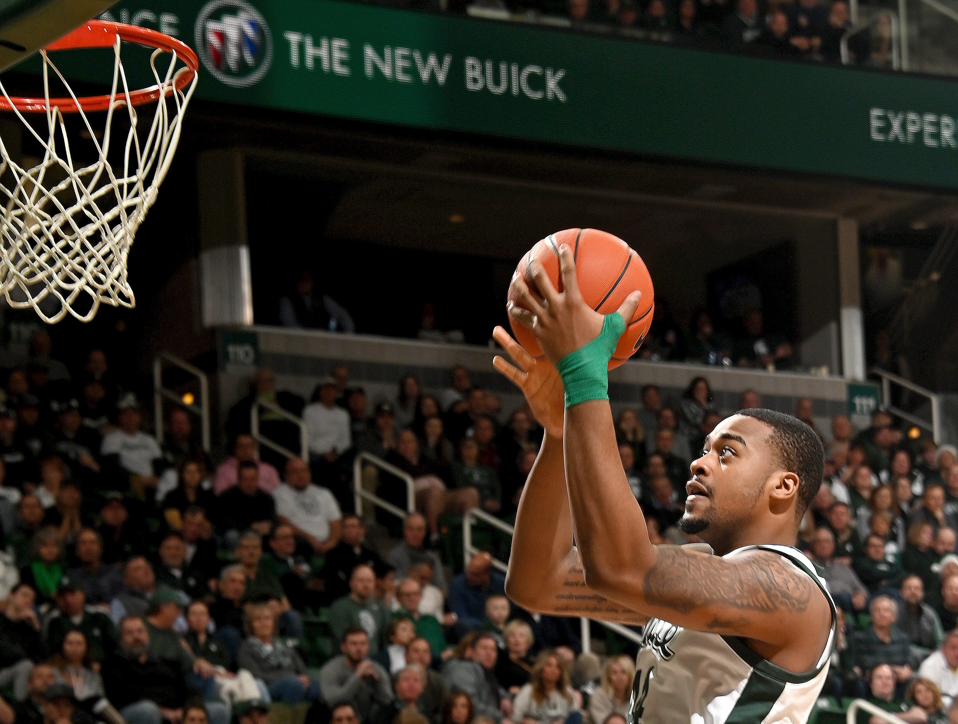 Nick Ward puts in a little jump shot in the second half.