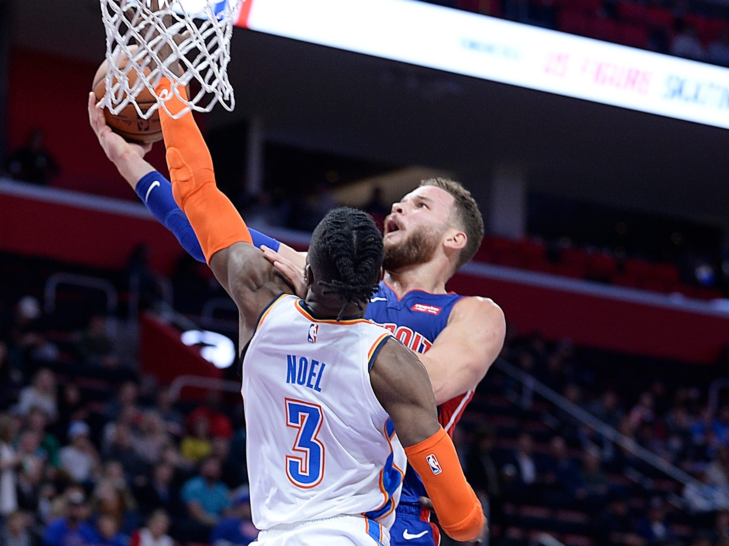 Pistons' Blake Griffin has his shot blocked by Thunder's Nerlens Noel in the second quarter.