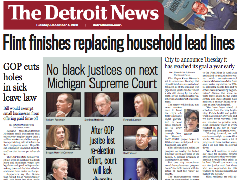 The front page of The Detroit News on Tuesday, December 4, 2018.