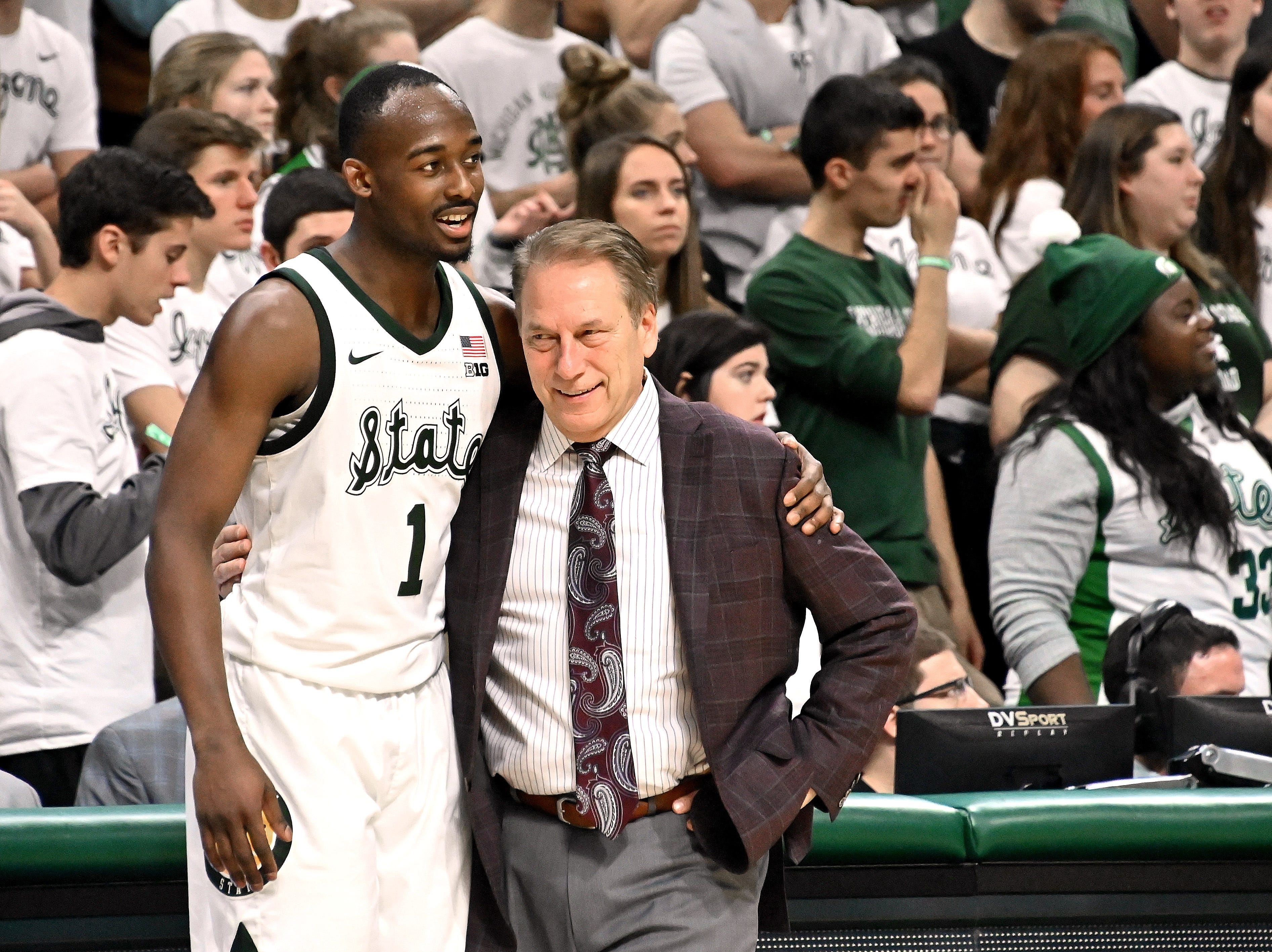 It was all smiles and kind words when Joshua Langford came out of the game and joined Tom Izzo on the sidelines as MSU beats Iowa 90-68, at Breslin center in East Lansing on Dec 03, 2018.