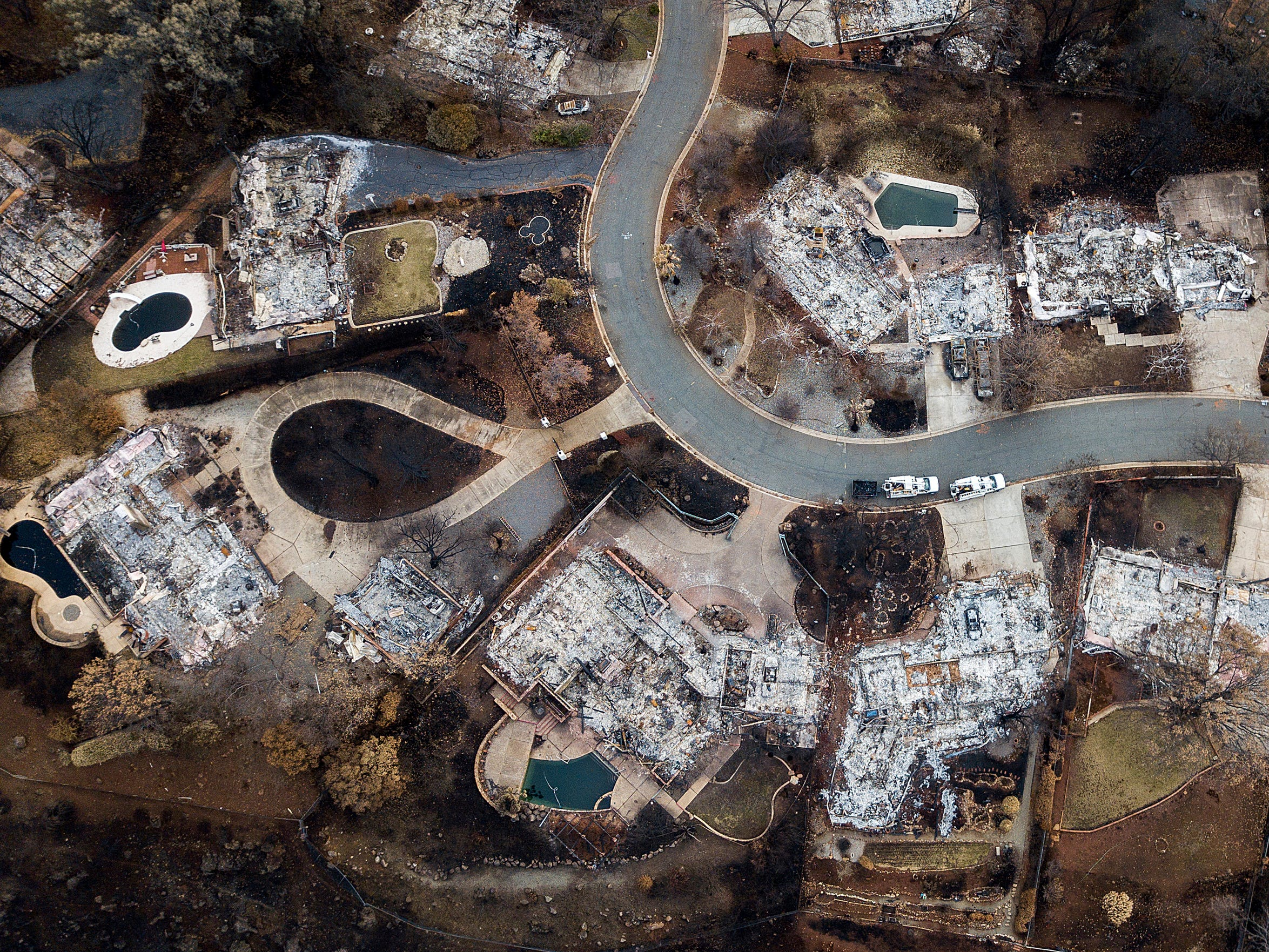 Homes leveled by the Camp Fire line Valley Ridge Drive in Paradise, Calif., on Monday, Dec. 3, 2018.