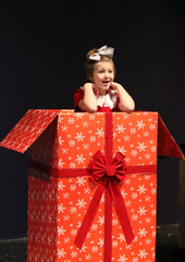 "Grace Biggert  gets stage fright in a skit for ""Joys of the Holidays."""