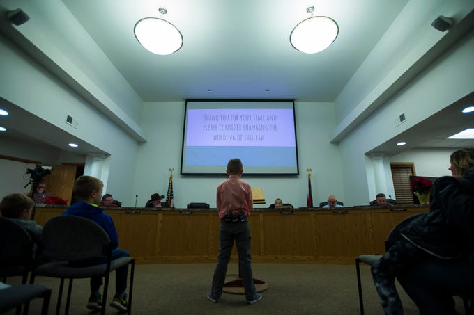 Range View Elementary School third grader Dane Best presented his argument to the town board trustees to change a law in Severance that bans snowball fights on Monday, Dec. 3, 2018, at the Town Hall in Severance, Colo. The board voted unanimously to approve the law change.