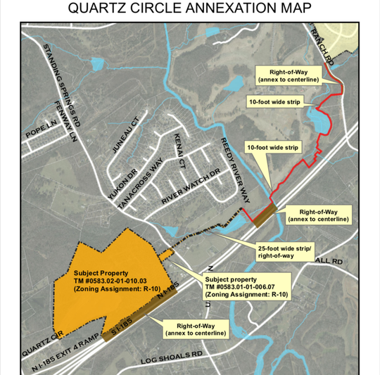 This map shows property the city of Mauldin is proposing to annex using a long 10-foot wide strip to establish contiguity with the city. A housing development is planned on the Quartz Circle-Standing Springs Road property.