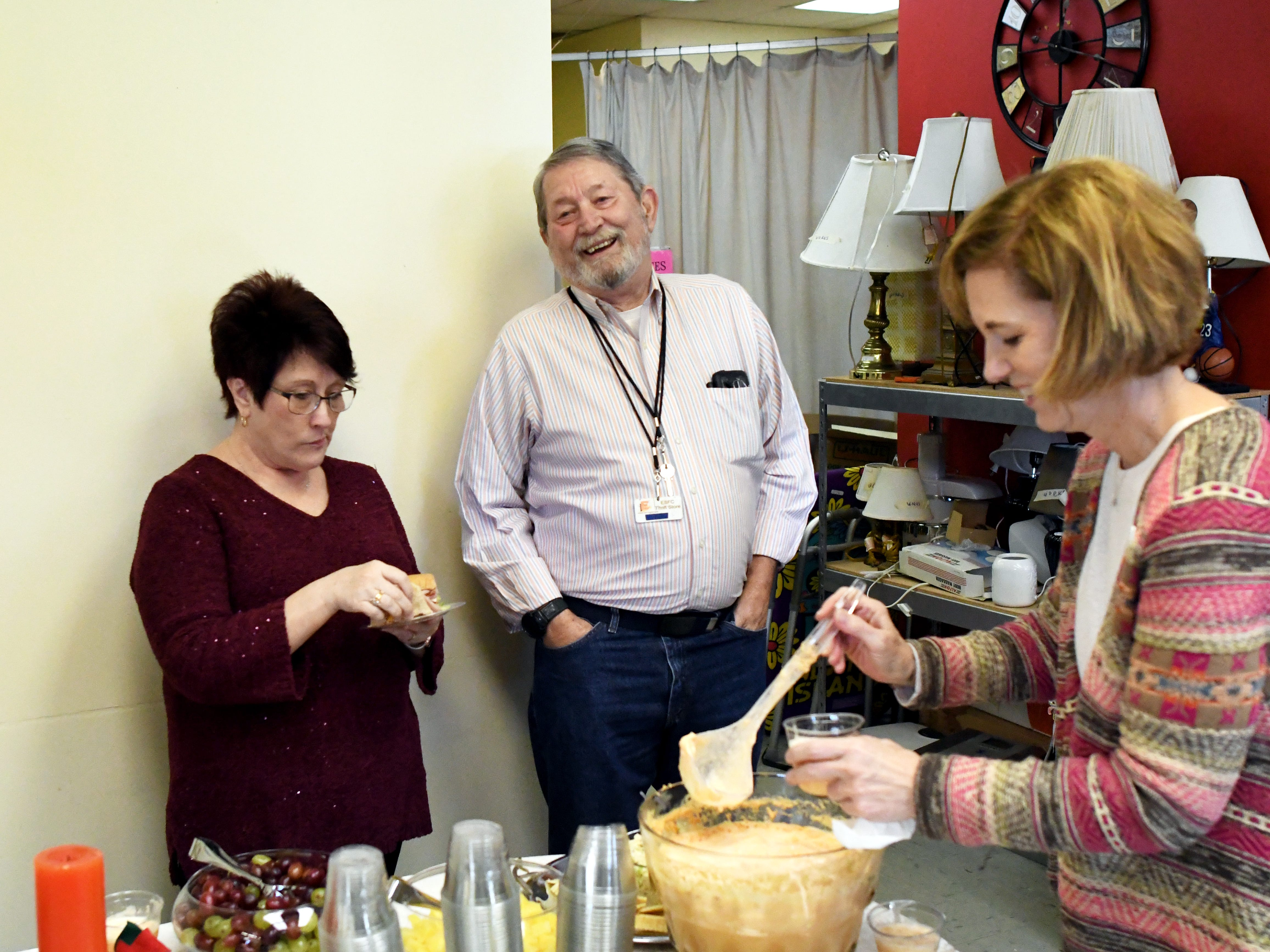 A reception is set up as the Daughters of the American Revolution surprised Phillip Peters with the community service award for his volunteering with Edward Street Fellowship Thrift Store on Tuesday, December 4, 2018. Peters has been volunteering with the son since 2002.