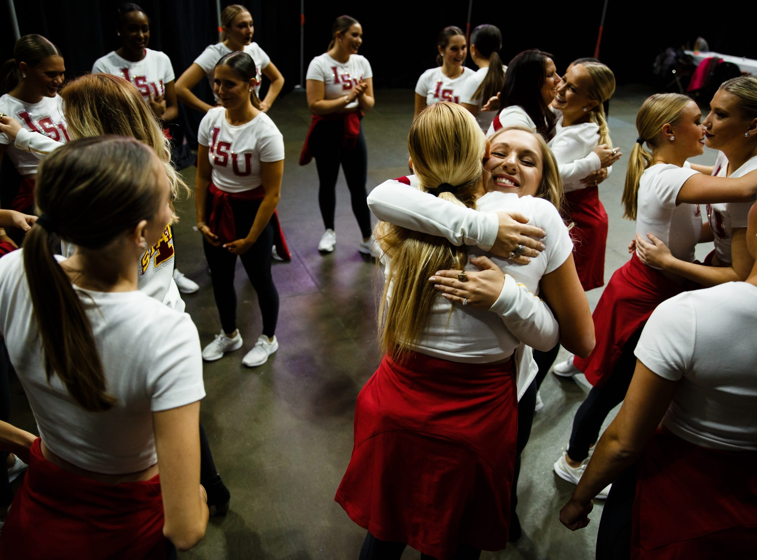 Dancers from Iowa State University warm up before performing at the Iowa Dance State Championships at Wells Fargo Arena on Friday, Nov. 30, 2018, in Des Moines.