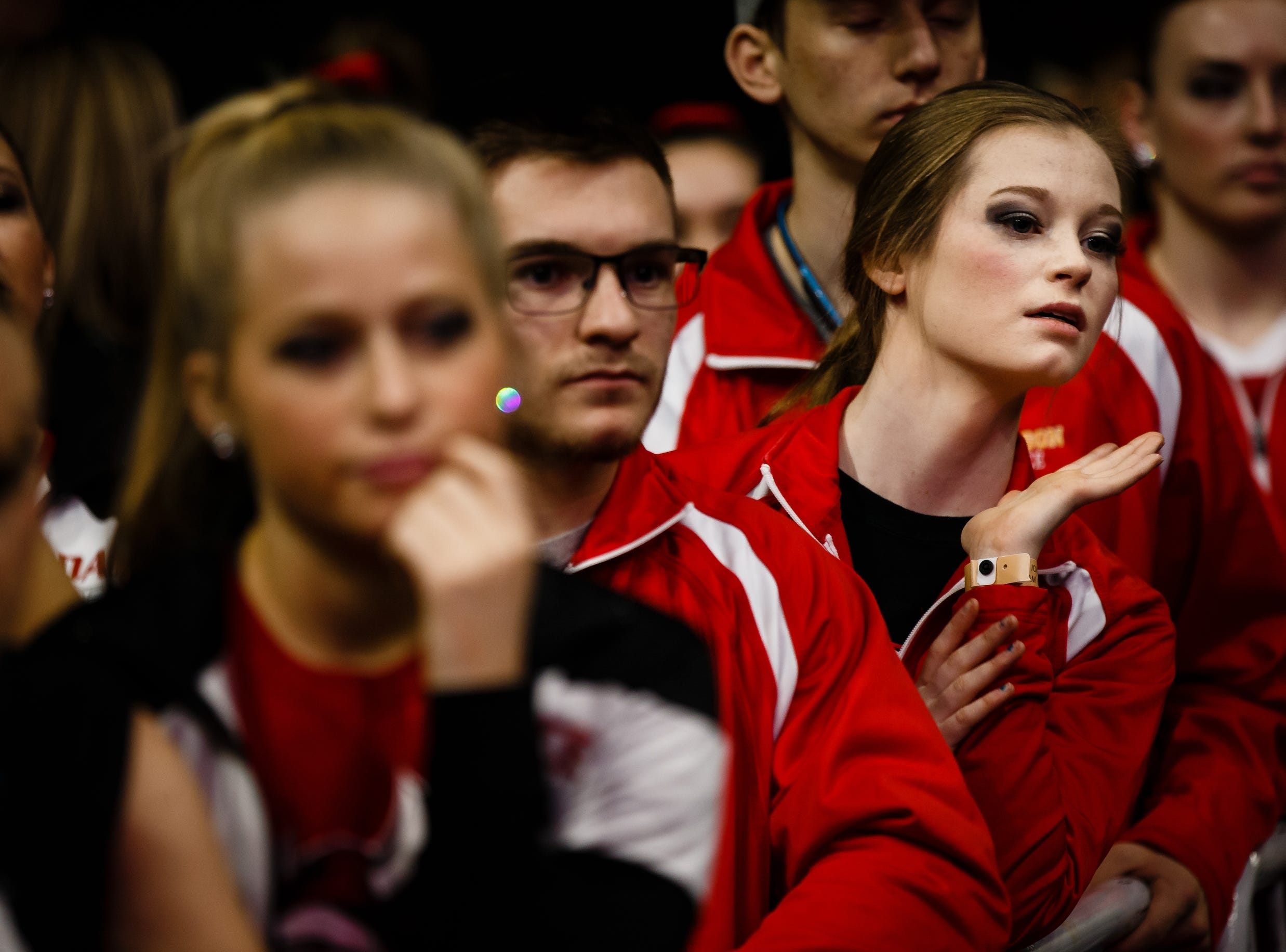 Competitors watch others perform during the Iowa Dance State Championships at Wells Fargo Arena on Friday, Nov. 30, 2018, in Des Moines.