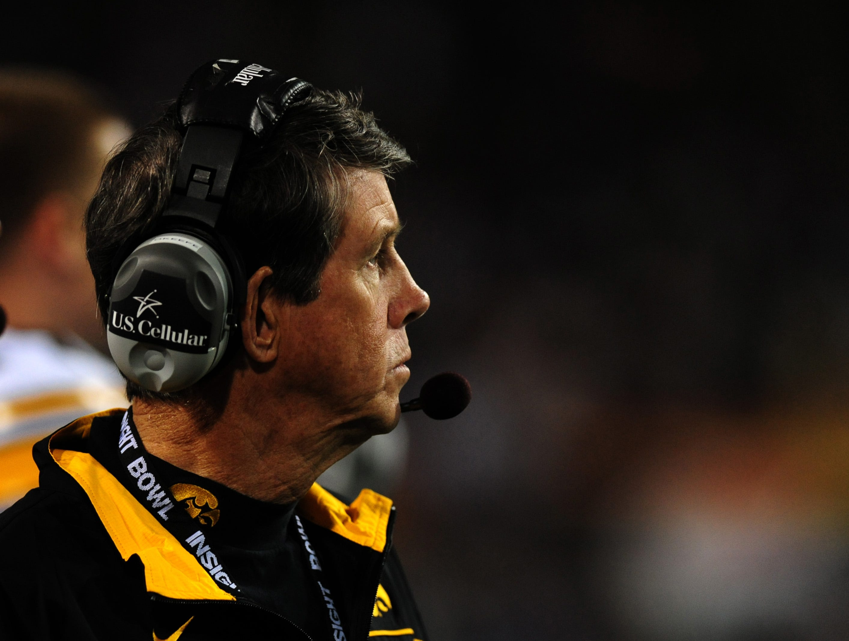 Dec 30, 2011; Tempe, AZ, USA;  Iowa Hawkeyes offensive coordinator Ken O'Keefe looks on during the fourth quarter of the 2011 Insight Bowl against Oklahoma Sooners at the Sun Devil Stadium. Mandatory Credit: Jennifer Hilderbrand-USA TODAY Sports