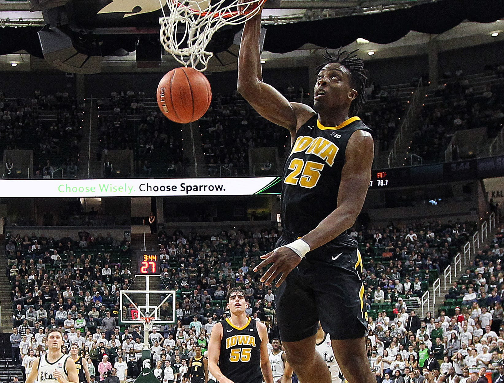 Dec 3, 2018; East Lansing, MI, USA; Iowa Hawkeyes forward Tyler Cook (25) dunks the ball against the Michigan State Spartans during the second half of a game at Breslin Center. Mandatory Credit: Mike Carter-USA TODAY Sports