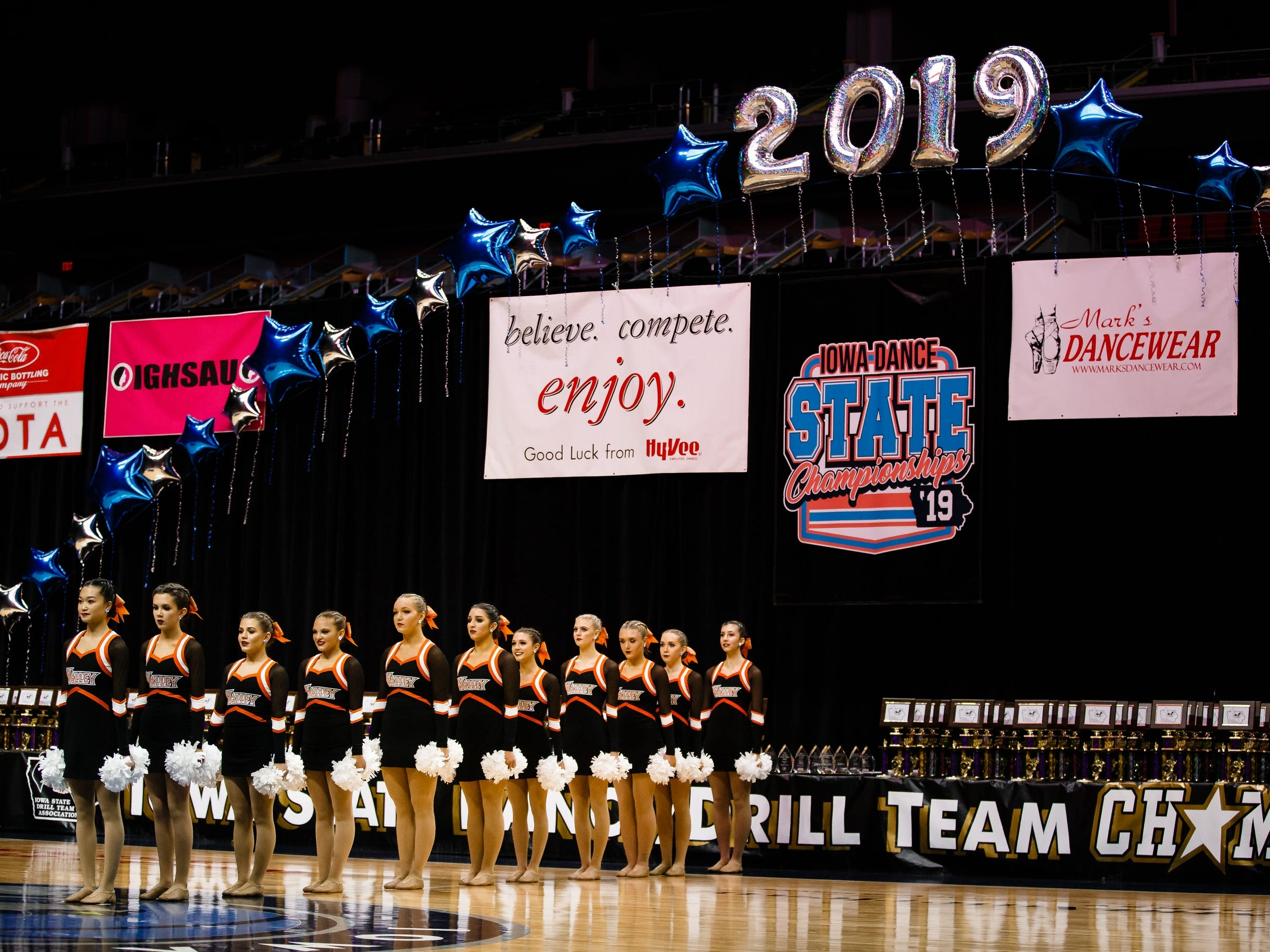 Cheerleaders from Valley High School perform at the Iowa Dance State Championships at Wells Fargo Arena on Friday, Nov. 30, 2018, in Des Moines.