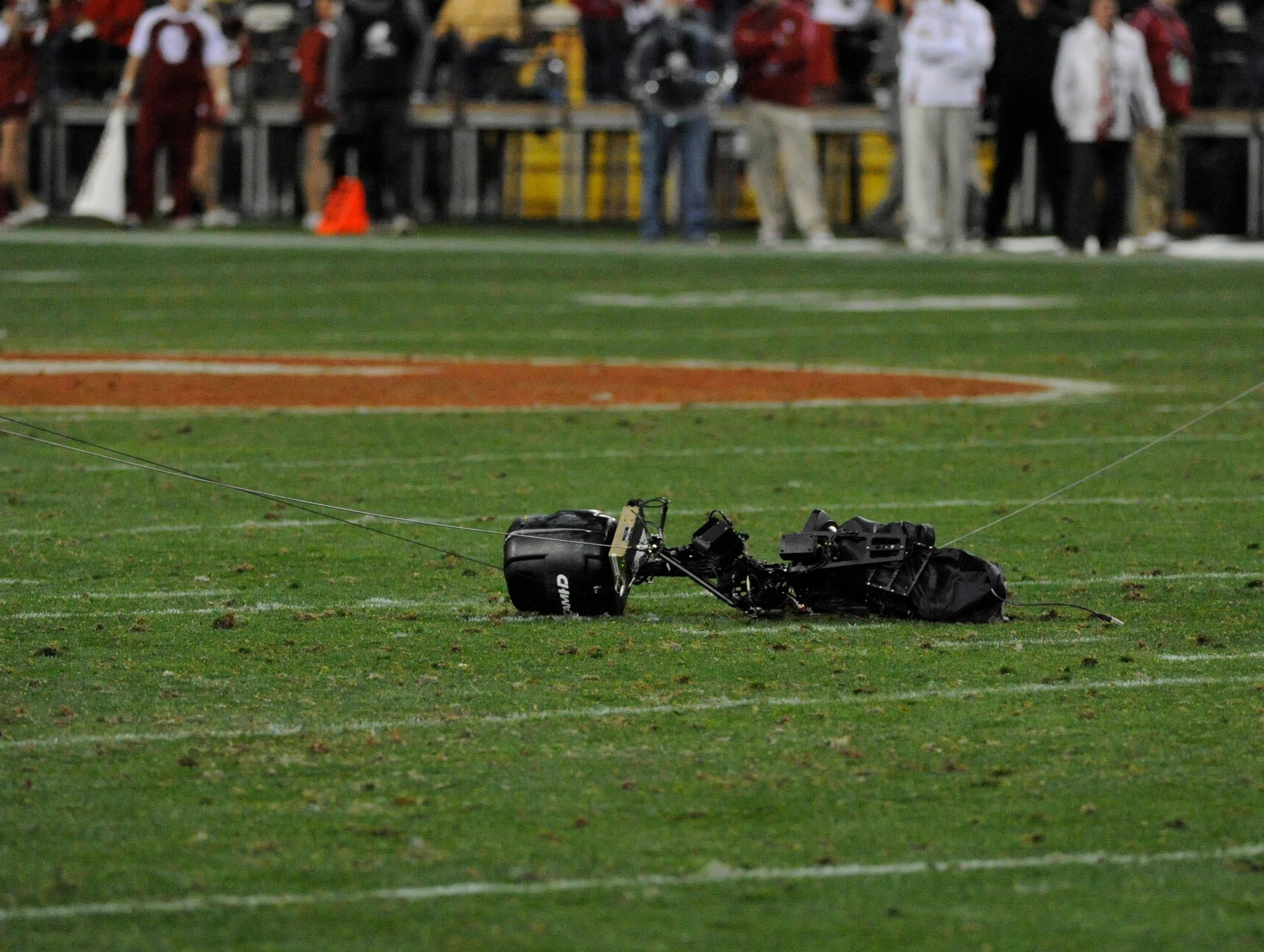 Dec 30, 2011; Tempe, AZ, USA; A fallen Skycam on the field during the second half of the 2011 Insight Bowl between Iowa Hawkeyes and Oklahoma Sooners at the Sun Devil Stadium. Mandatory Credit: Richard Mackson-USA TODAY Sports