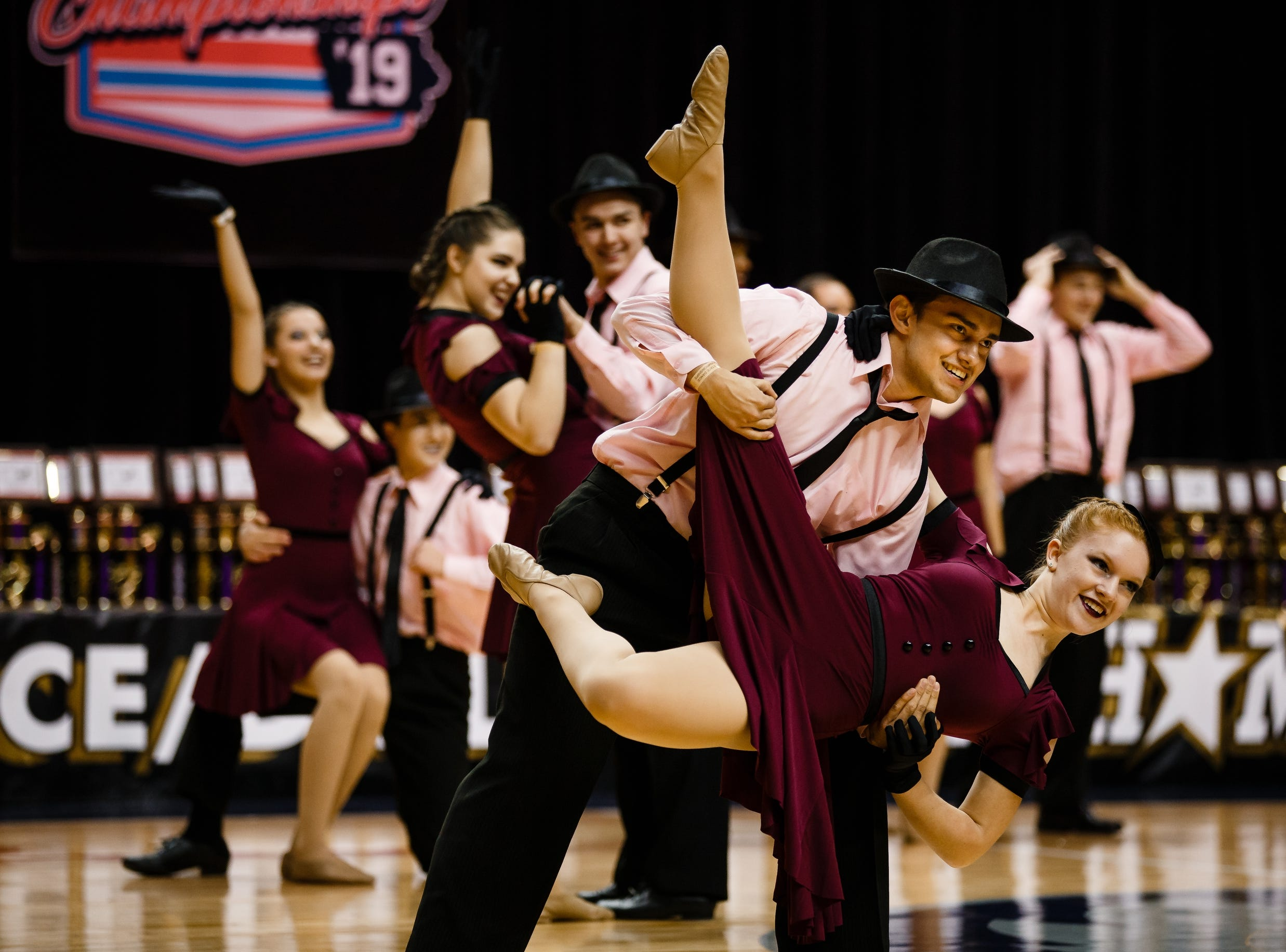 Davenport Central dancers perform during the Iowa Dance State Championships at Wells Fargo Arena on Friday, Nov. 30, 2018, in Des Moines.