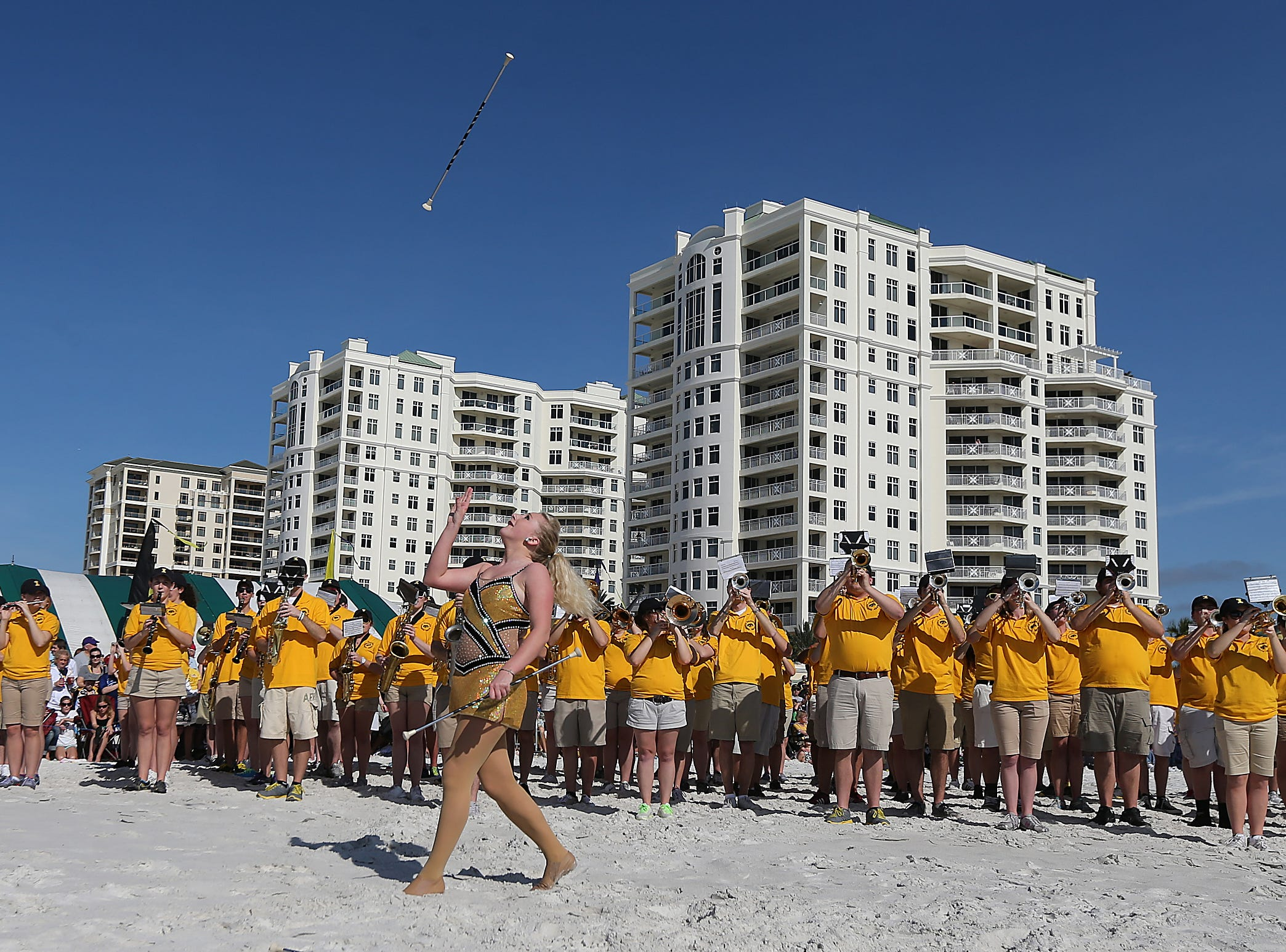 Members of the University of Iowa marching band perform during beach day on Monday, Dec. 30, 2013, in Clearwater, Florida. (Bryon Houlgrave/The Register)
