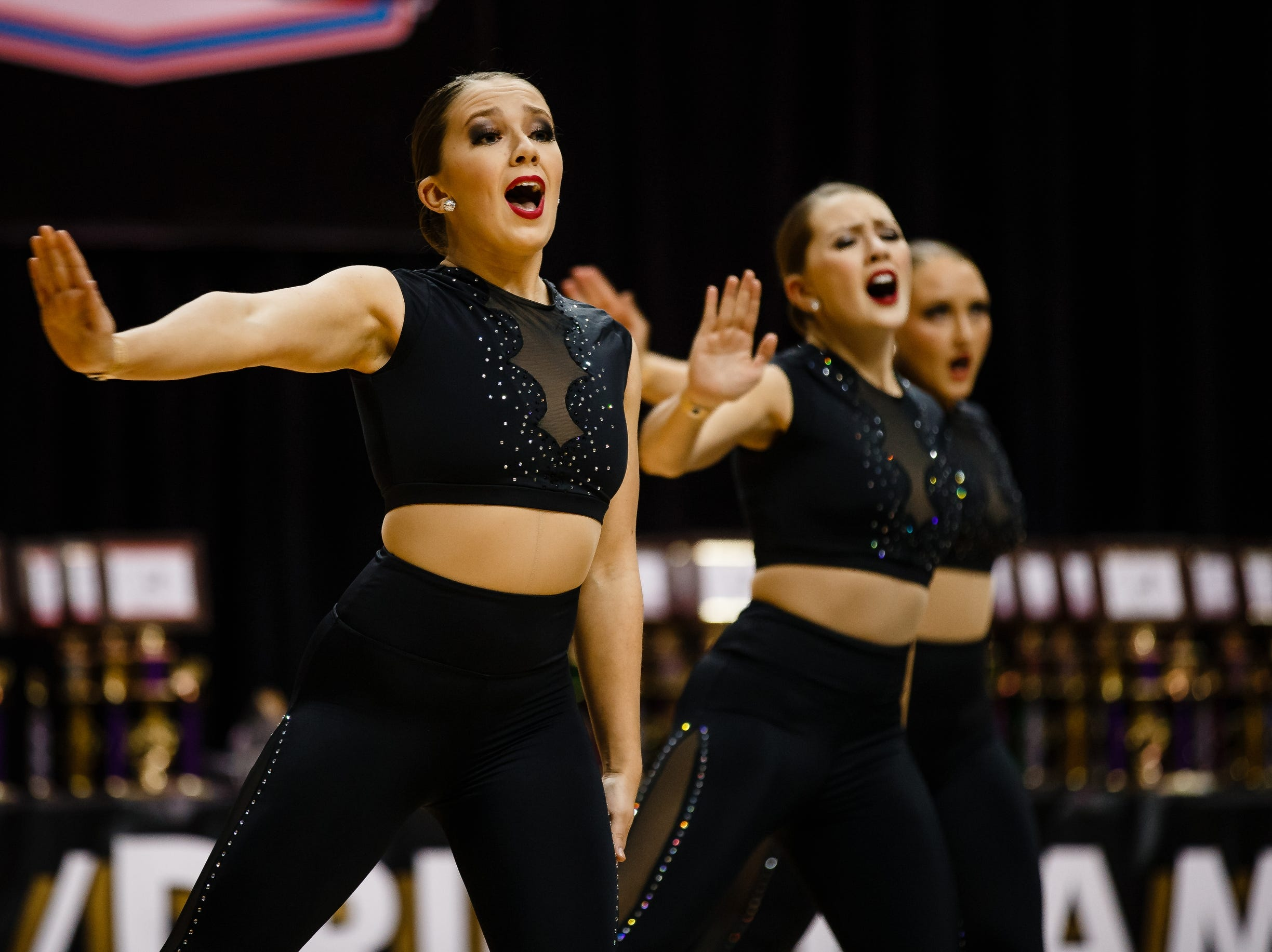 Grandview University dancers perform during the Iowa Dance State Championships at Wells Fargo Arena on Friday, Nov. 30, 2018, in Des Moines.