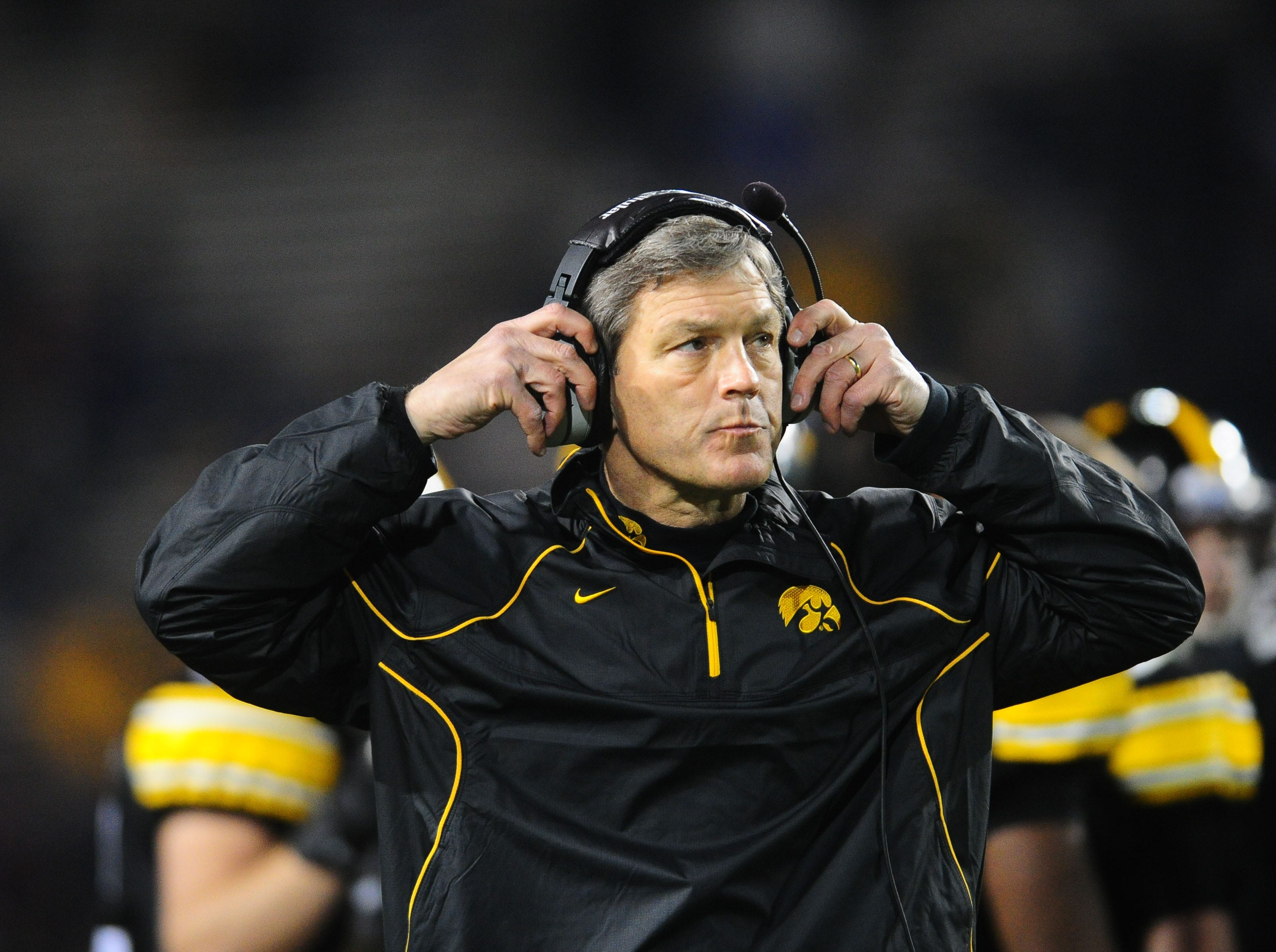 Dec. 28, 2010; Tempe, AZ, USA; Iowa Hawkeyes head coach Kirk Ferentz against the Missouri Tigers in the 2010 Insight Bowl at Sun Devil Stadium. Iowa defeated Missouri 27-24. Mandatory Credit: Mark J. Rebilas-USA TODAY Sports