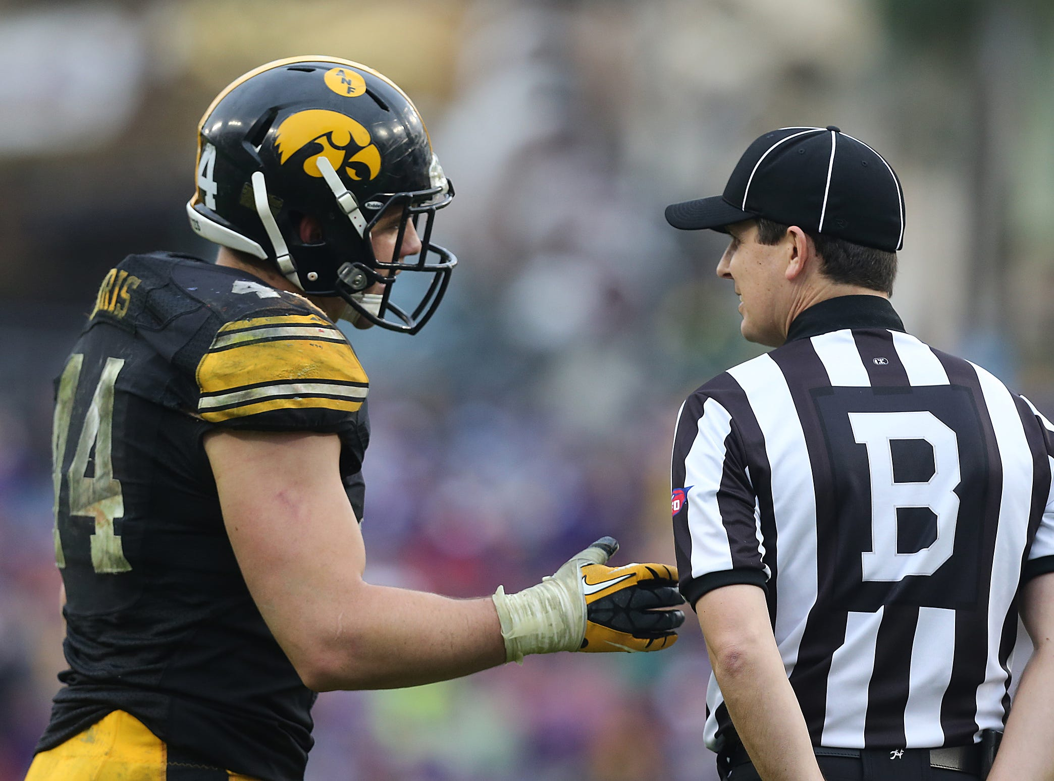 Iowa linebacker James Morris talks with a game official between plays against LSU in the Outback Bowl on Wednesday, Jan. 1, 2014, in Tampa, Florida. (Bryon Houlgrave/The Register)