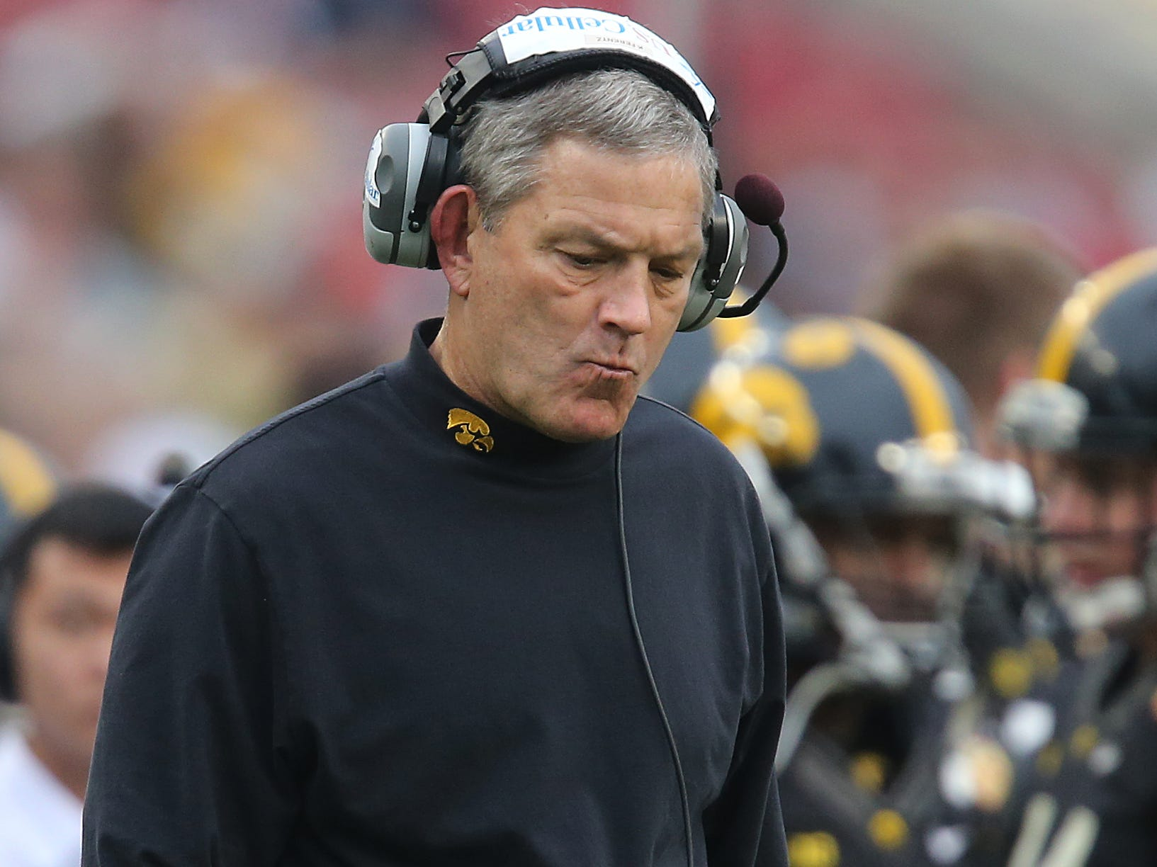 There wasn't much left Iowa coach Kirk Ferentz and the Hawkeyes could do in the final seconds as LSU held on to take a 21-14 win in the Outback Bowl on Wednesday, Jan. 1, 2014, in Tampa, Florida. (Bryon Houlgrave/The Register)