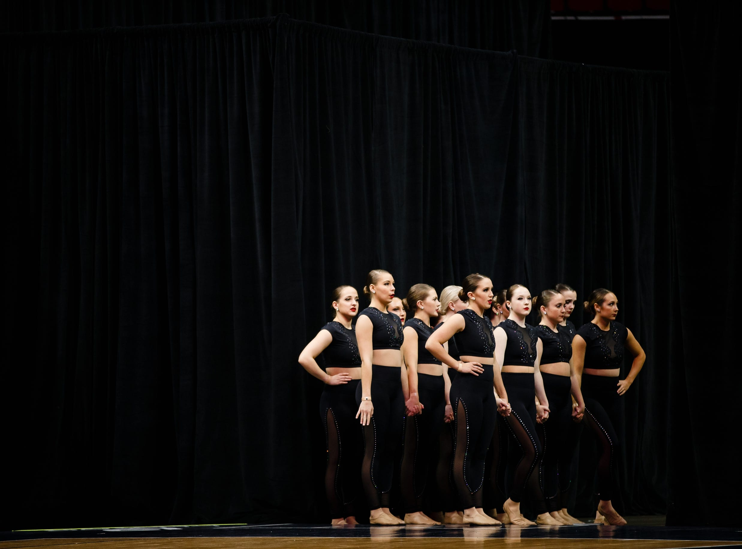 Grandview University dancers wait to perform during the Iowa Dance State Championships at Wells Fargo Arena on Friday, Nov. 30, 2018, in Des Moines.