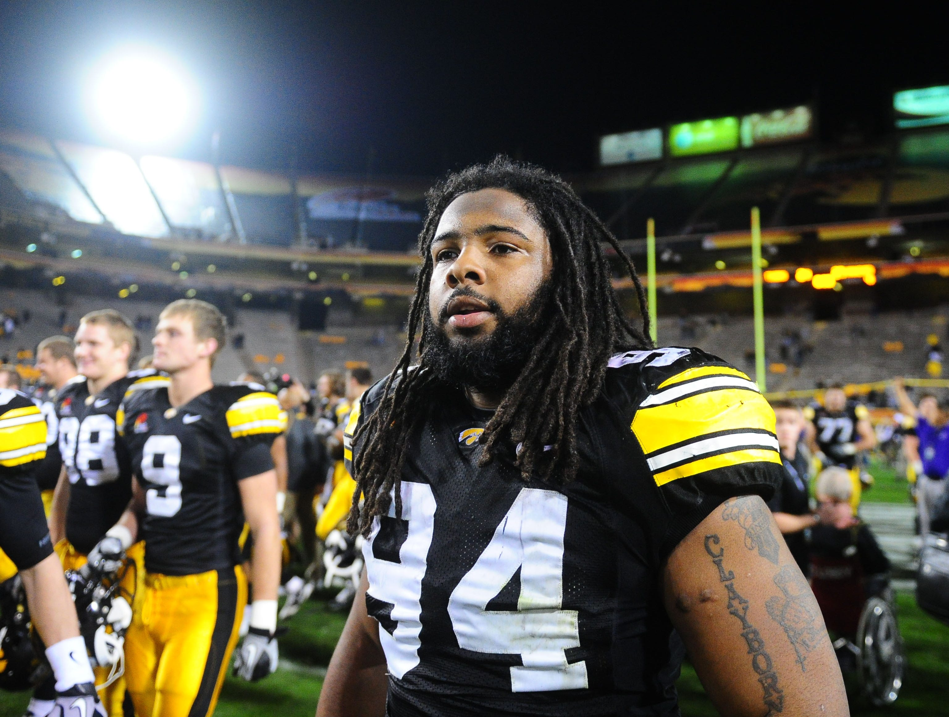 Dec. 28, 2010; Tempe, AZ, USA; Iowa Hawkeyes defensive lineman (94) Adrian Clayborn against the Missouri Tigers in the 2010 Insight Bowl at Sun Devil Stadium. Iowa defeated Missouri 27-24. Mandatory Credit: Mark J. Rebilas-USA TODAY Sports