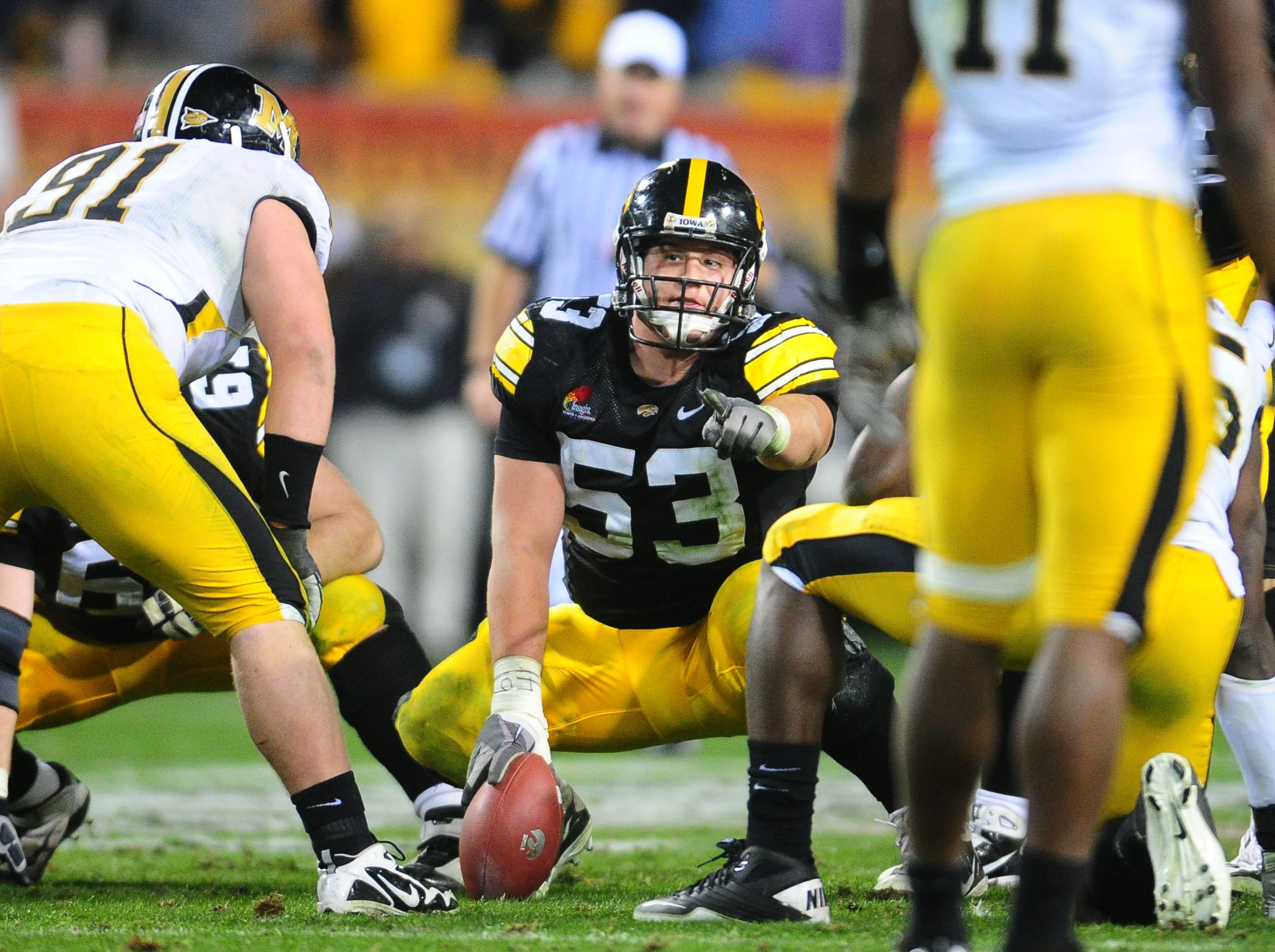 Dec. 28, 2010; Tempe, AZ, USA; Iowa Hawkeyes offensive lineman (53) James Ferentz against the Missouri Tigers in the 2010 Insight Bowl at Sun Devil Stadium. Iowa defeated Missouri 27-24. Mandatory Credit: Mark J. Rebilas-USA TODAY Sports