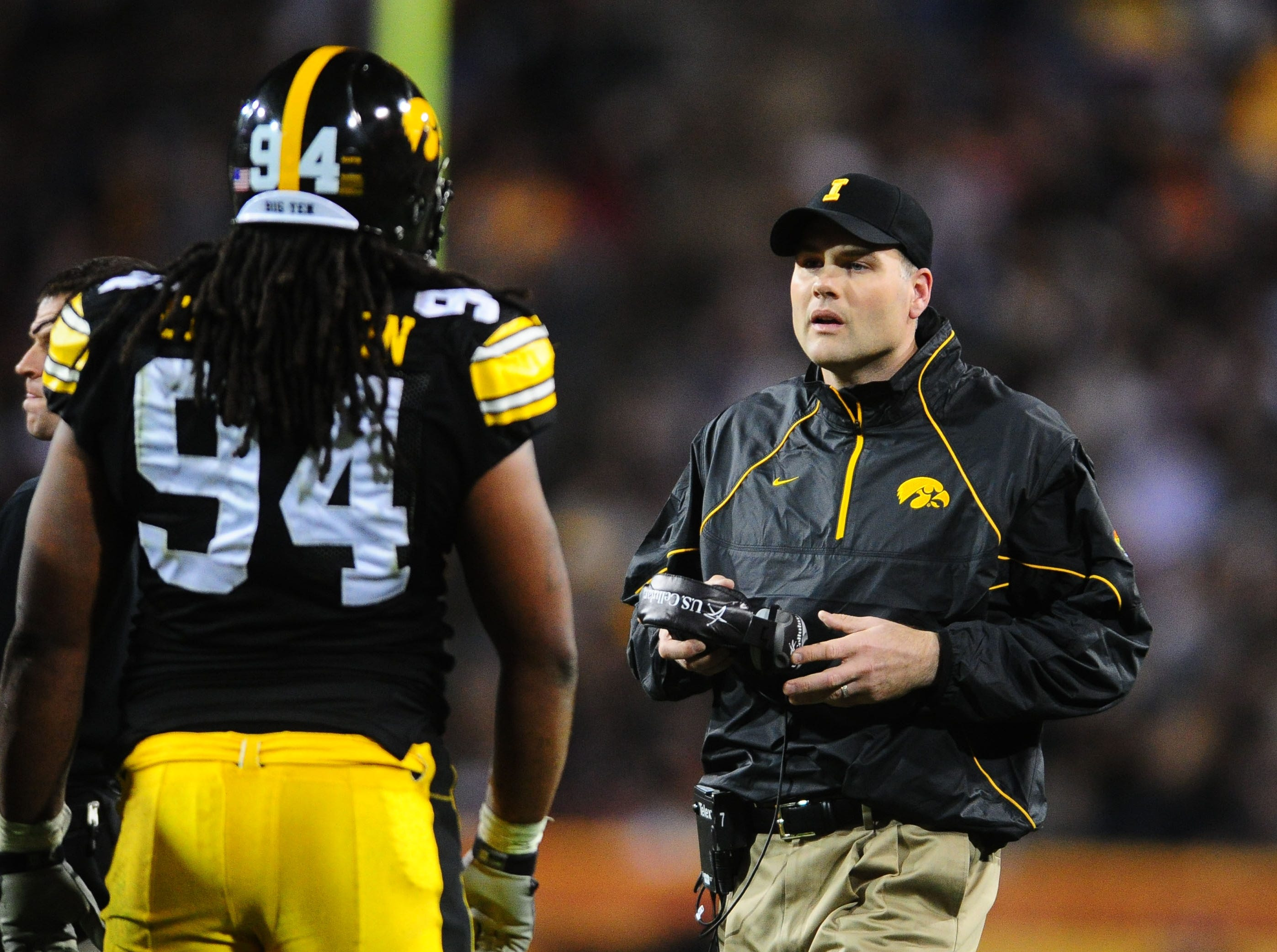 Dec. 28, 2010; Tempe, AZ, USA; Iowa Hawkeyes defensive line coach Rick Kaczenski against the Missouri Tigers in the 2010 Insight Bowl at Sun Devil Stadium. Iowa defeated Missouri 27-24. Mandatory Credit: Mark J. Rebilas-USA TODAY Sports