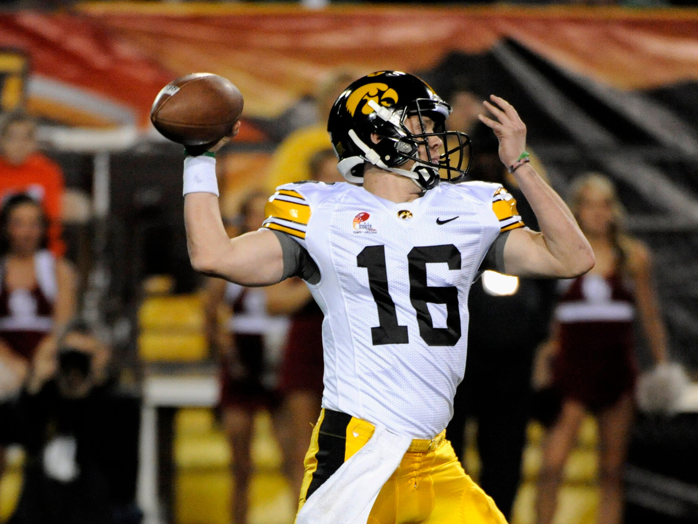 Dec 30, 2011; Tempe, AZ, USA; Iowa Hawkeyes quarterback James Vandenberg (16) passes against Oklahoma Sooners during the first half of the 2011 Insight Bowl at the Sun Devil Stadium. Mandatory Credit: Richard Mackson-USA TODAY Sports