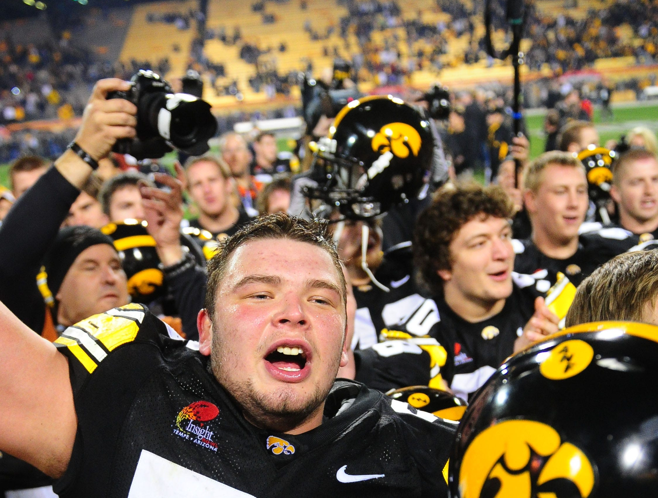Dec. 28, 2010; Tempe, AZ, USA; Iowa Hawkeyes offensive lineman (56) Markus Zusevics against the Missouri Tigers in the 2010 Insight Bowl at Sun Devil Stadium. Iowa defeated Missouri 27-24. Mandatory Credit: Mark J. Rebilas-USA TODAY Sports