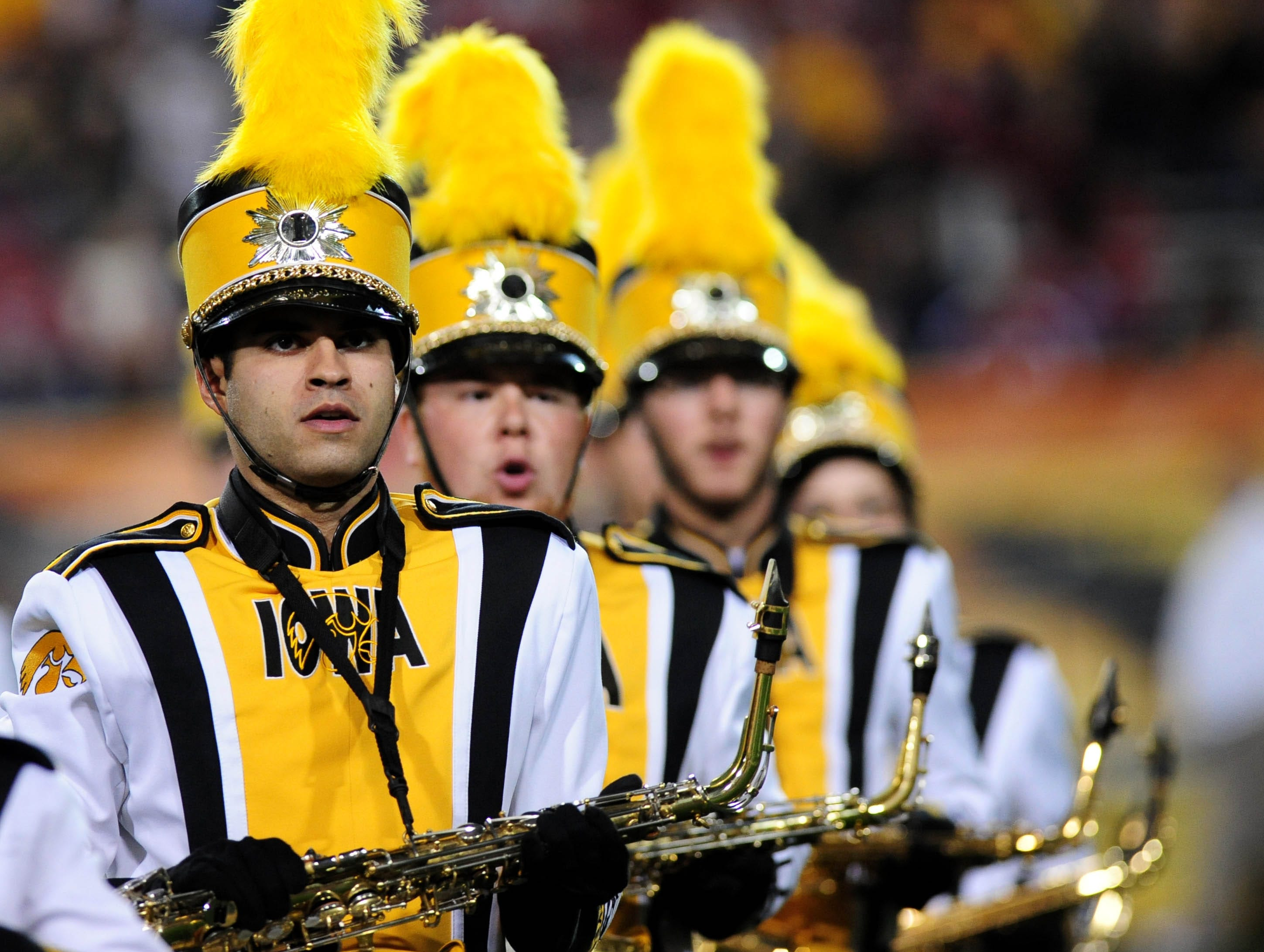 Dec 30, 2011; Tempe, AZ, USA;  Iowa Hawkeyes marching band preforms before the game against Oklahoma Sooners during the 2011 Insight Bowl at the Sun Devil Stadium. Mandatory Credit: Jennifer Hilderbrand-USA TODAY Sports