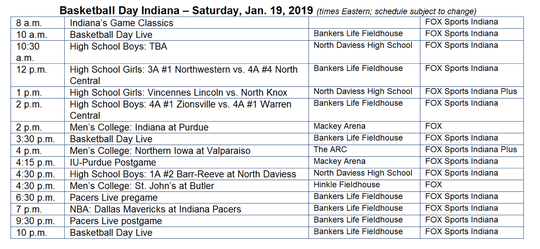 This is the schedule for Basketball Day Indiana